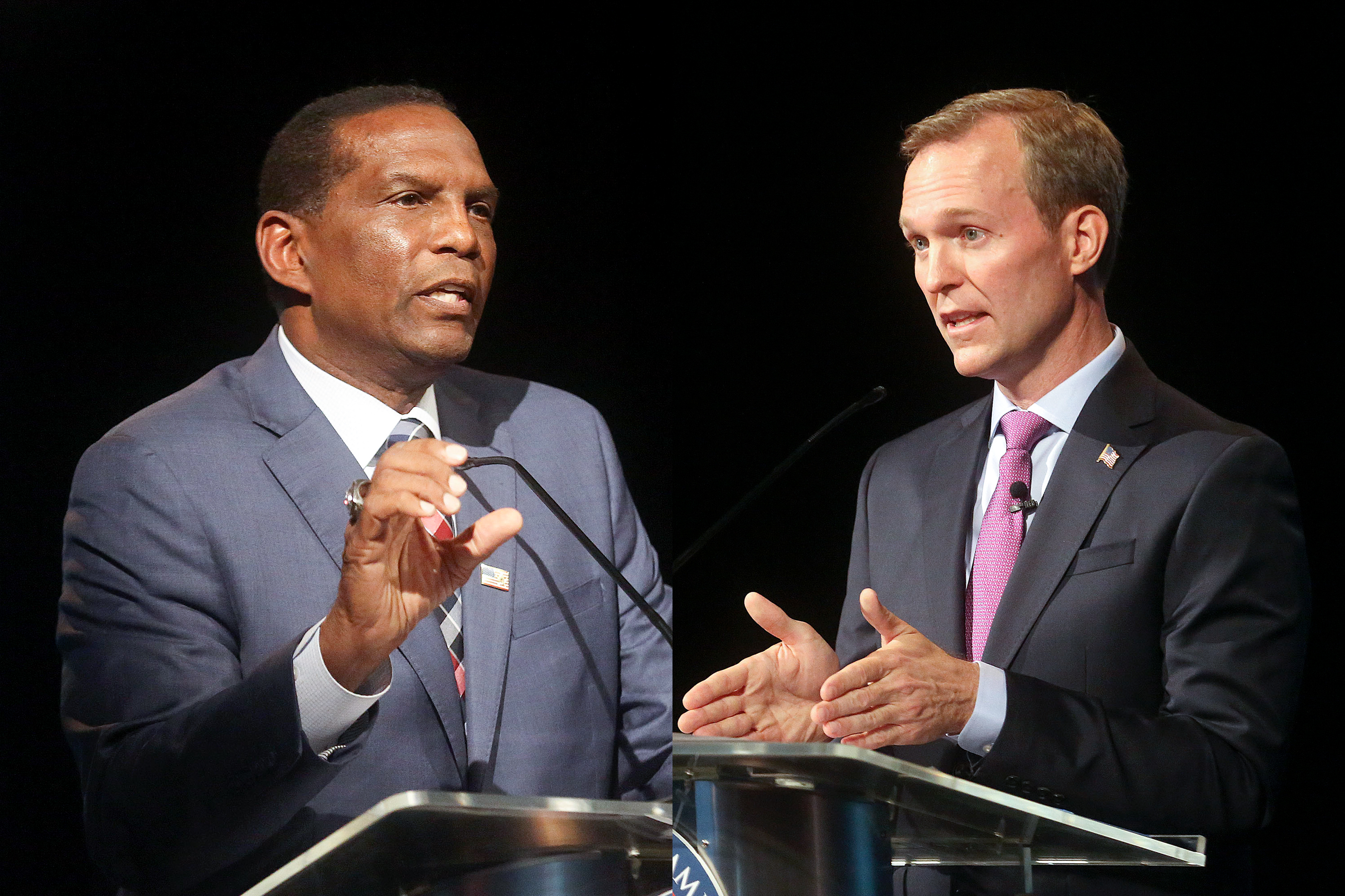 Republican Burgess Owens, left, and Rep. Ben McAdams, D-Utah, participate in the 4th Congressional District debate at the Triad Center in Salt Lake City on Monday, Oct. 12, 2020 in this composite image.