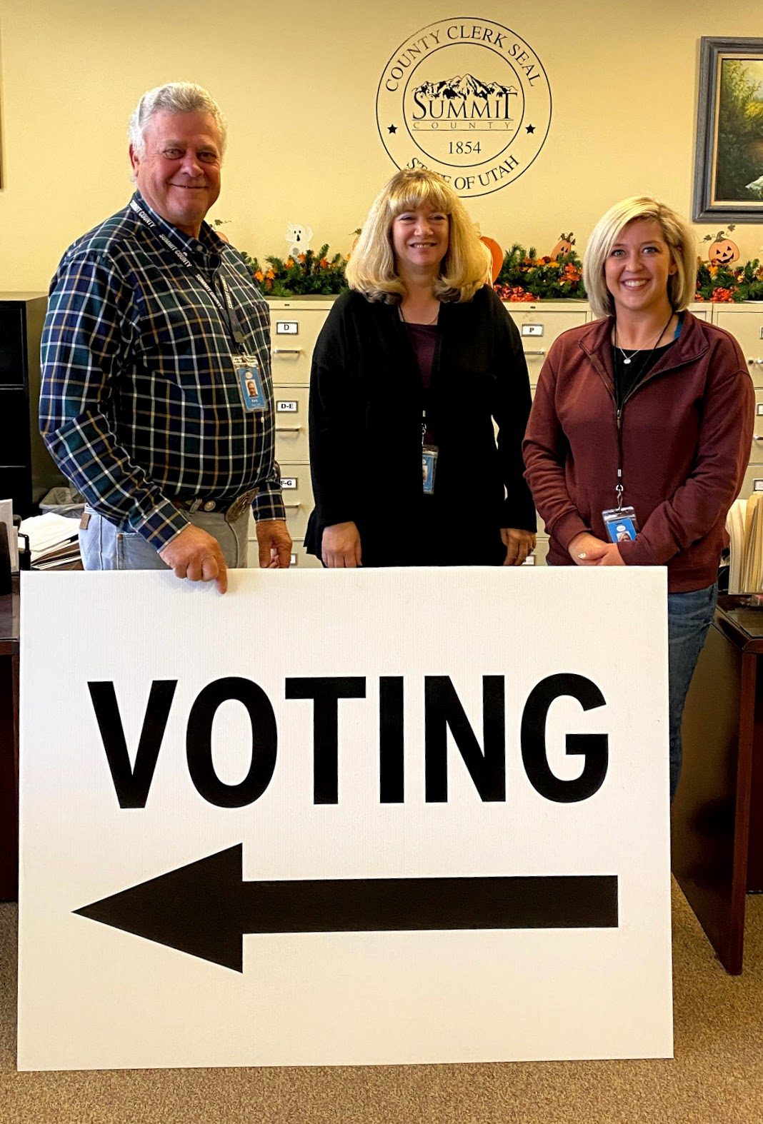 Summit County Clerk Kent Jones, left, chief deputy clerk Kellie Robinson and deputy clerk Jessika O'Brien gear up for the 2020 election.