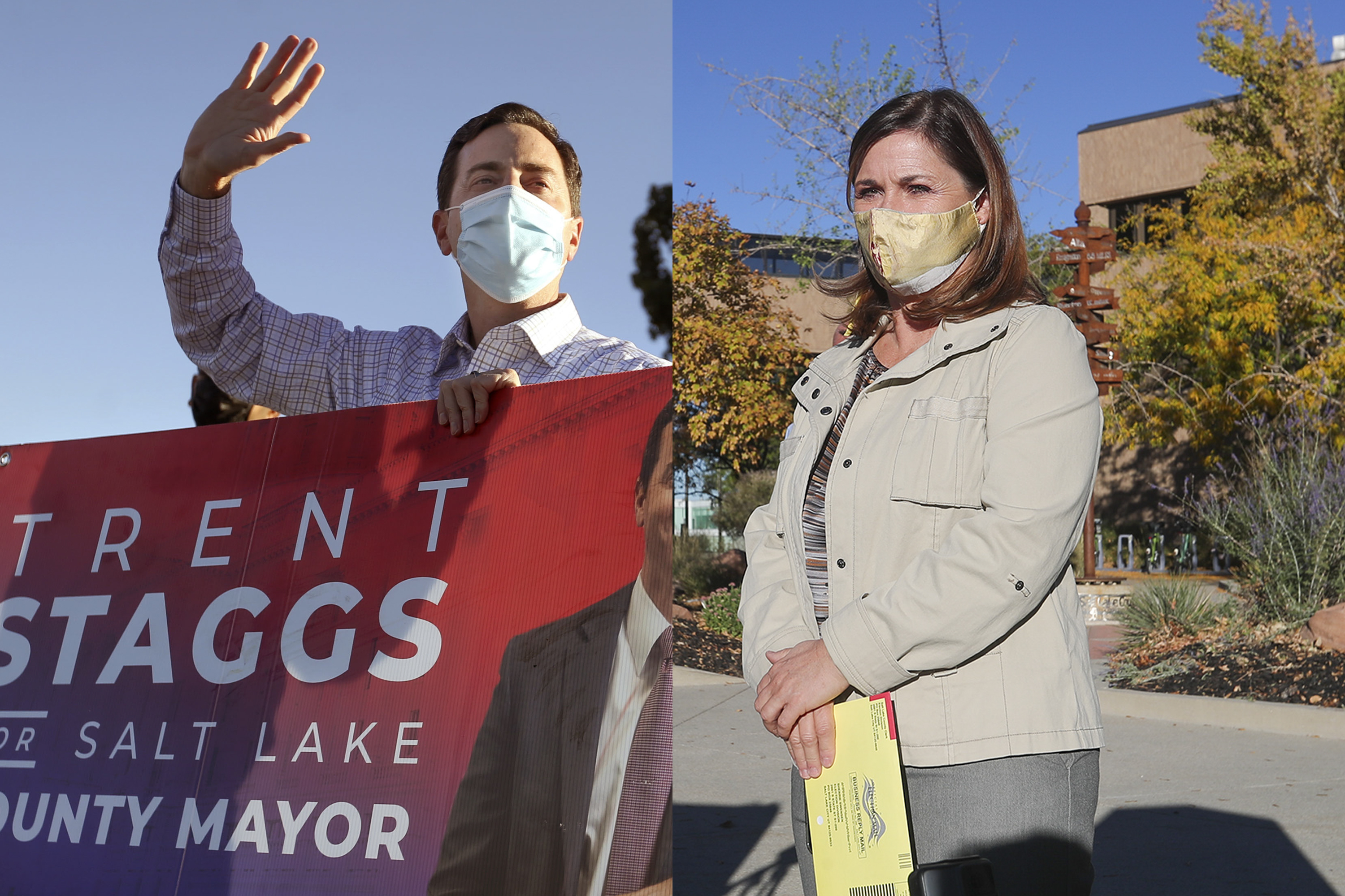 In this composite image, Republican candidate for Salt Lake County Mayor Trent Staggs, left, who is the current mayor of Riverton, waves at passersby in Taylorsville on Friday, Oct. 16, 2020. At right, Salt Lake County Mayor Jenny Wilson, a Democrat, makes a short speech before placing her ballots into an official ballot drop box at the county offices in Salt Lake City on Friday, Oct. 16, 2020.
