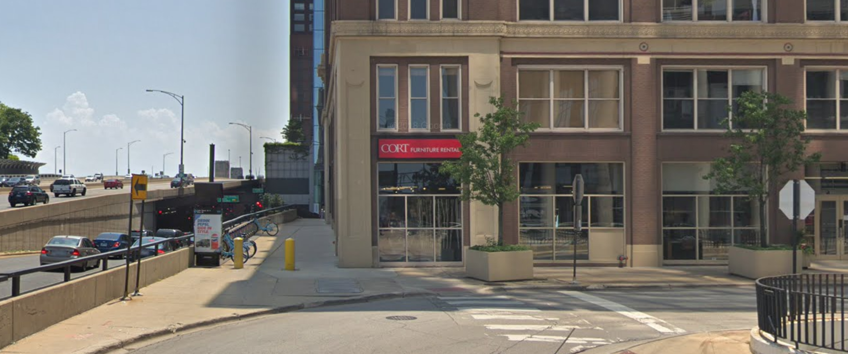 A car crashed into a furniture store Oct. 18, 2020, in the 500 block of North Lake Shore Drive.