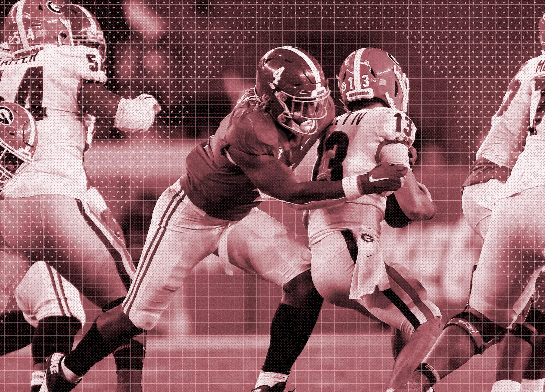 NCAA Football: Georgia at Alabama. Christopher Allen tackles Stetson Bennett IV