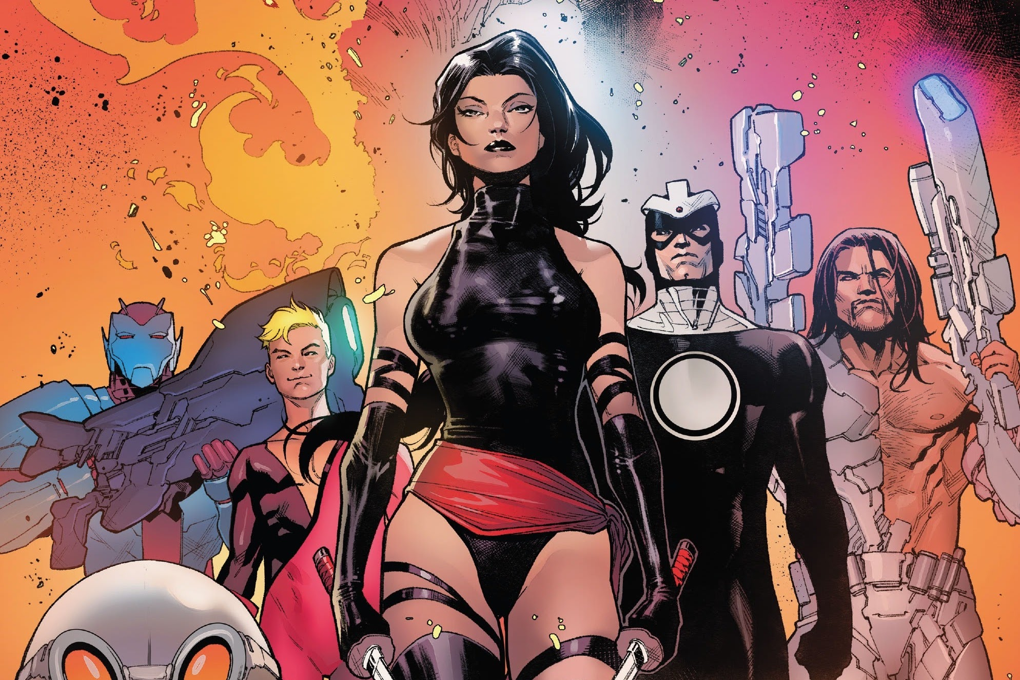 Havok, Orphan-Maker, Nanny, Wild Child, Psylocke, Empath, and Greycrow walk towards the camera like badasses on the cover of Hellions #6, Marvel Comics (2020).