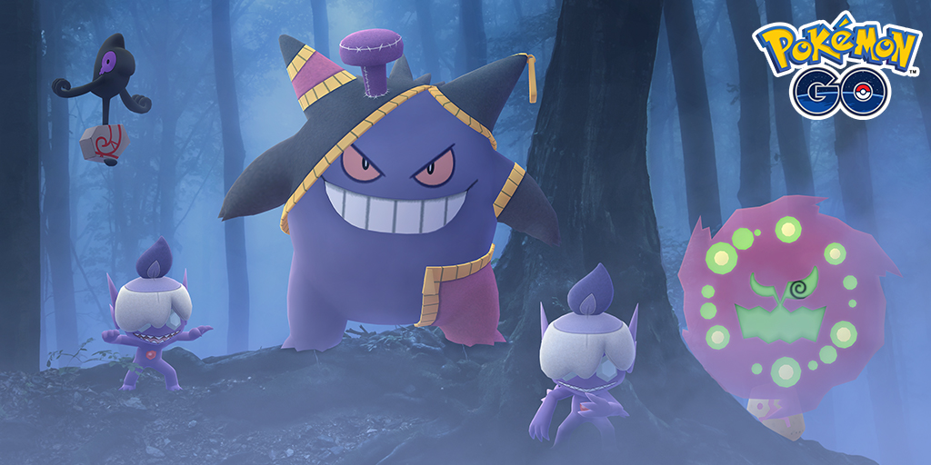 A frankenstein-like Gengar hangs out in a foggy forest with other ghost-type Pokémon
