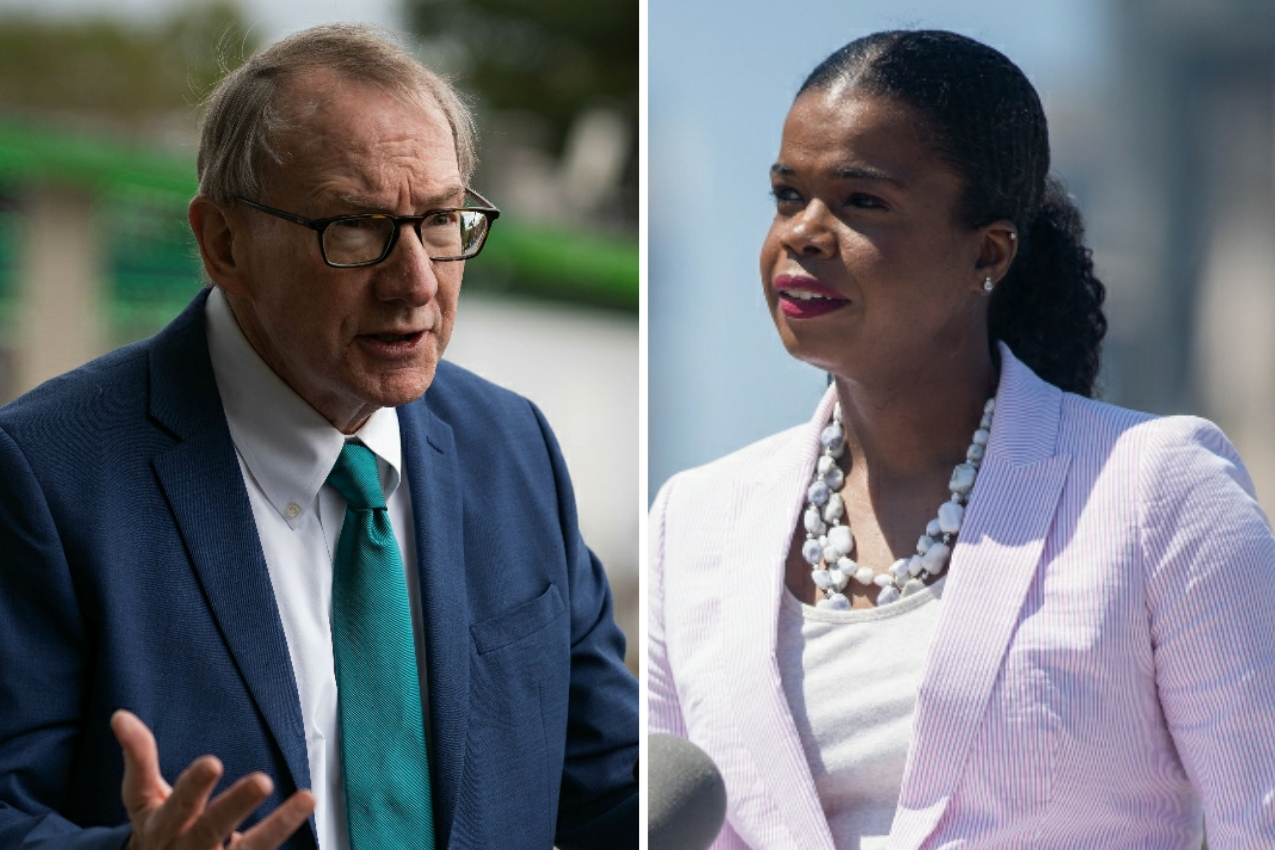 Republican state's attorney candidate Pat O'Brien, left, earlier this month; Cook County State's Attorney Kim Foxx, right, in August.