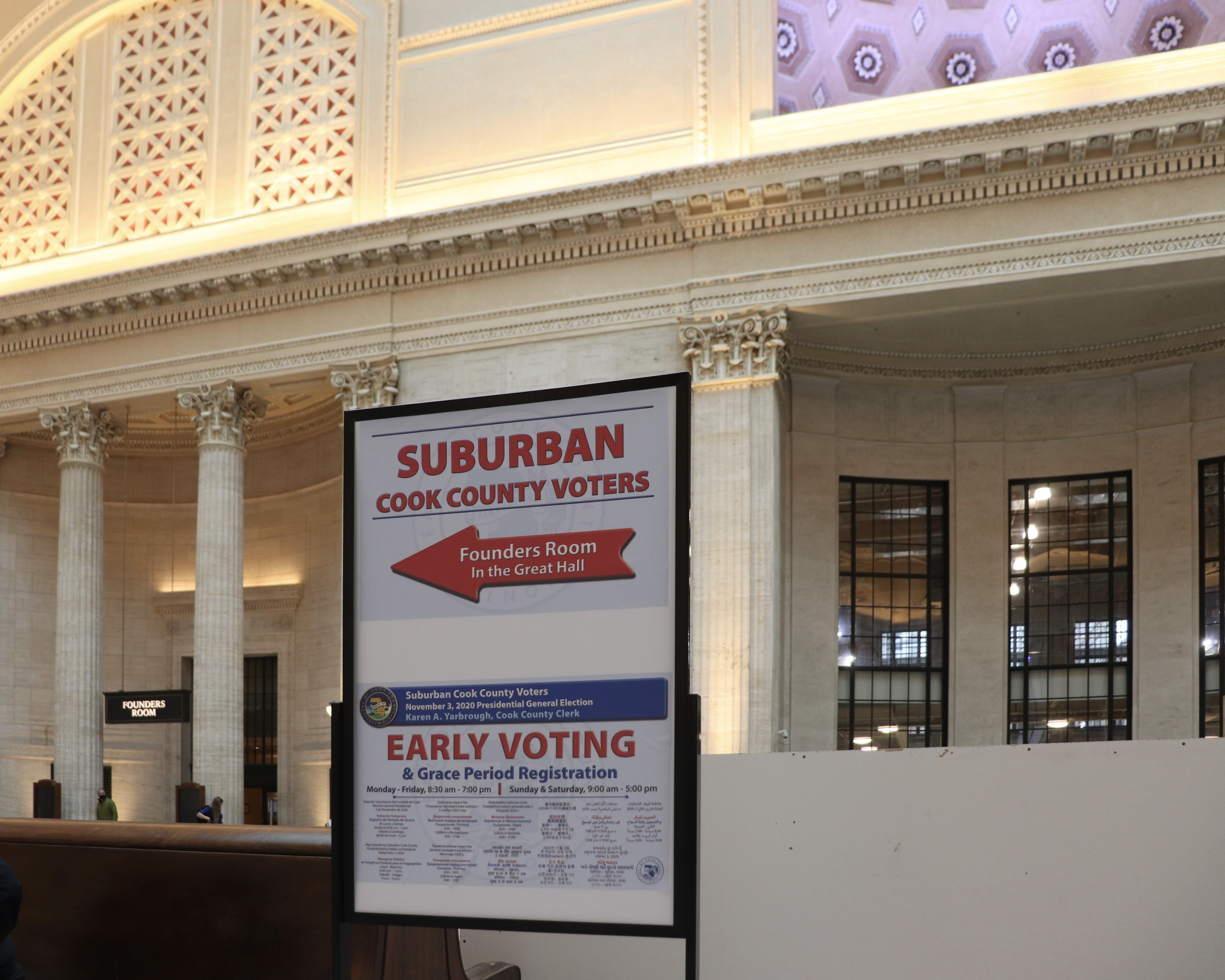 Early voting placard outside of the new voting site at Union Station. For the first time in its 95-year history, Union Station will serve as a polling location.