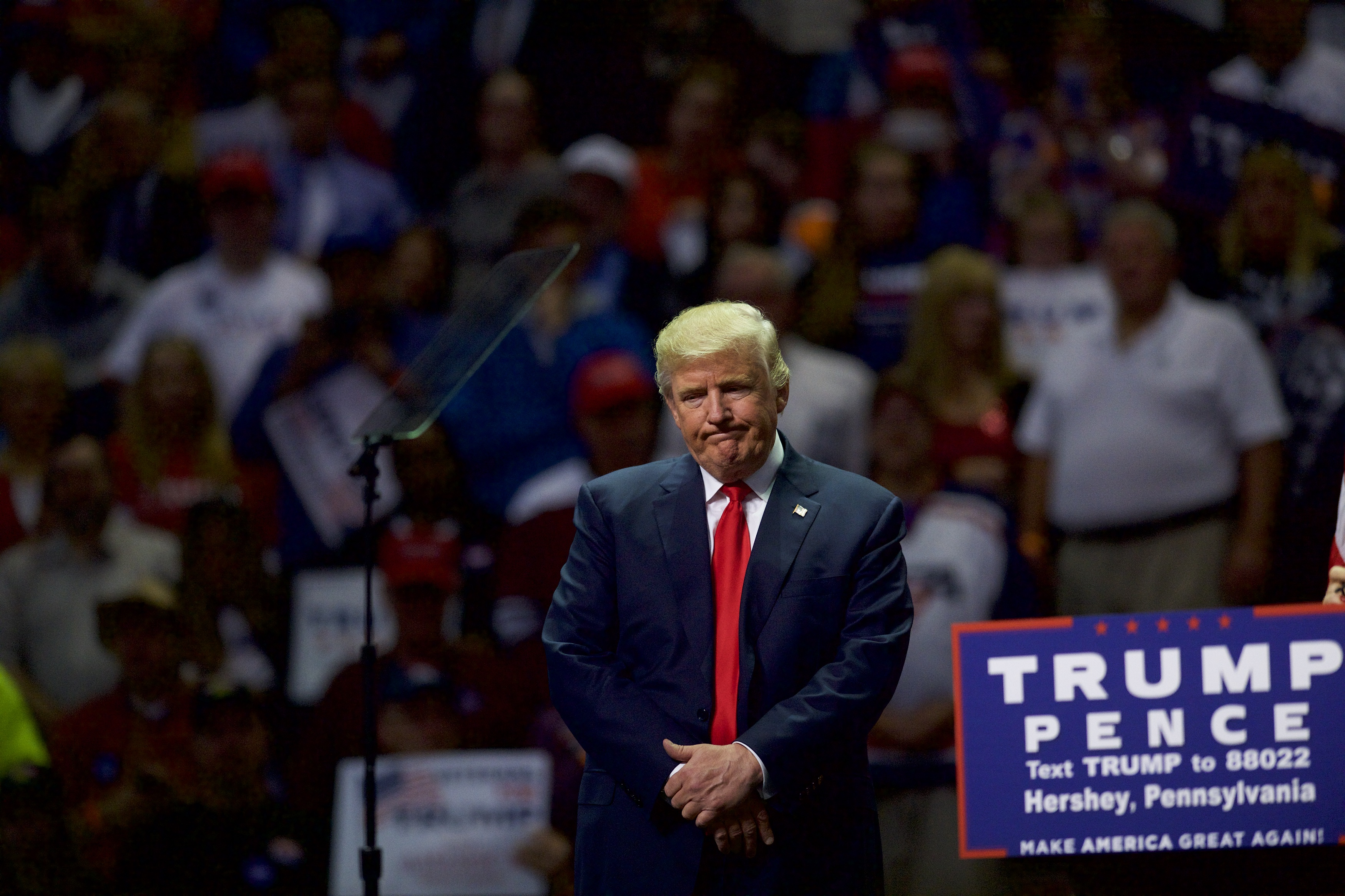 Donald Trump holds a rally in Hershey, Pennsylvania, in 2016.