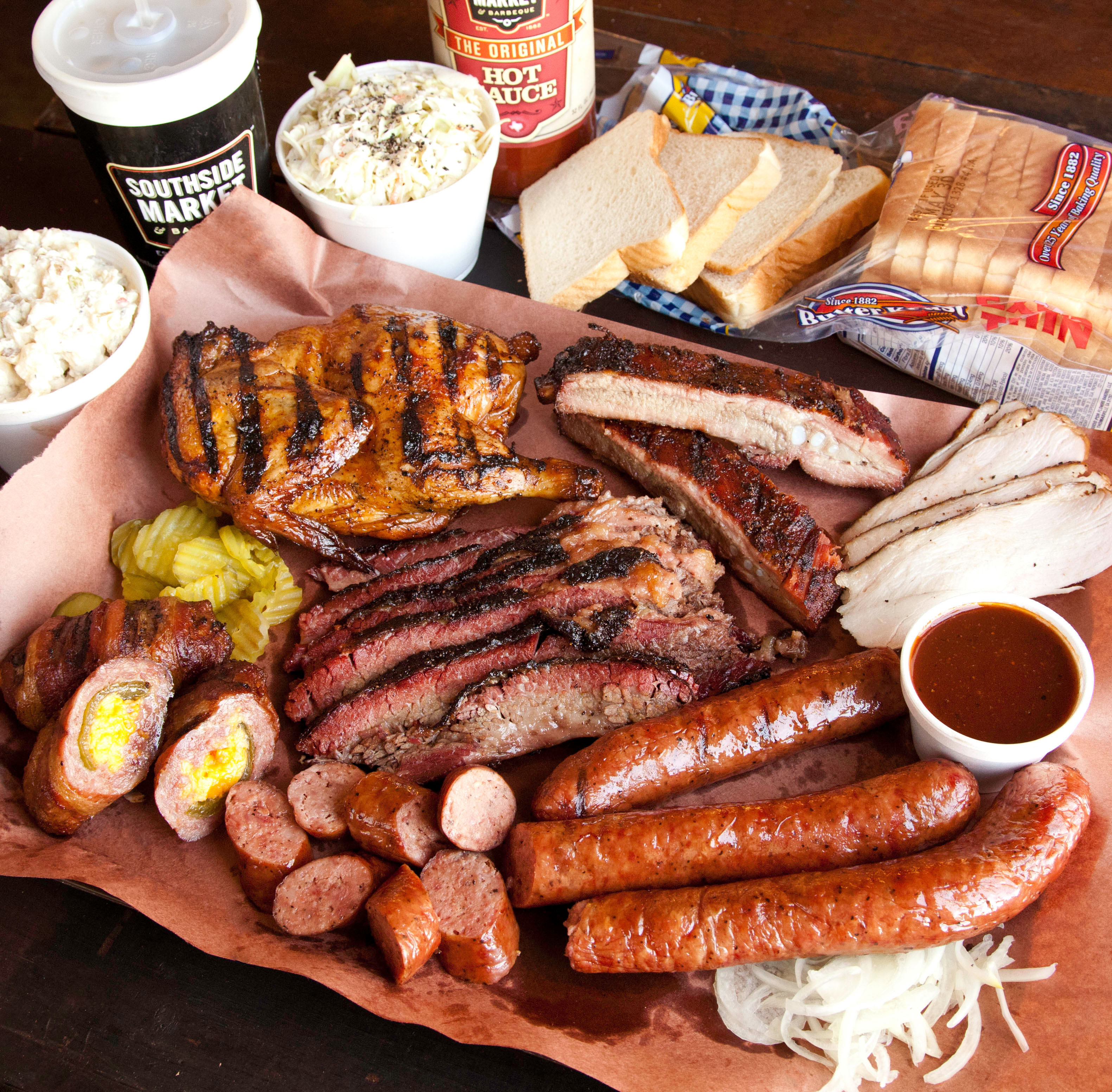 A barbecue platter from Southside Market