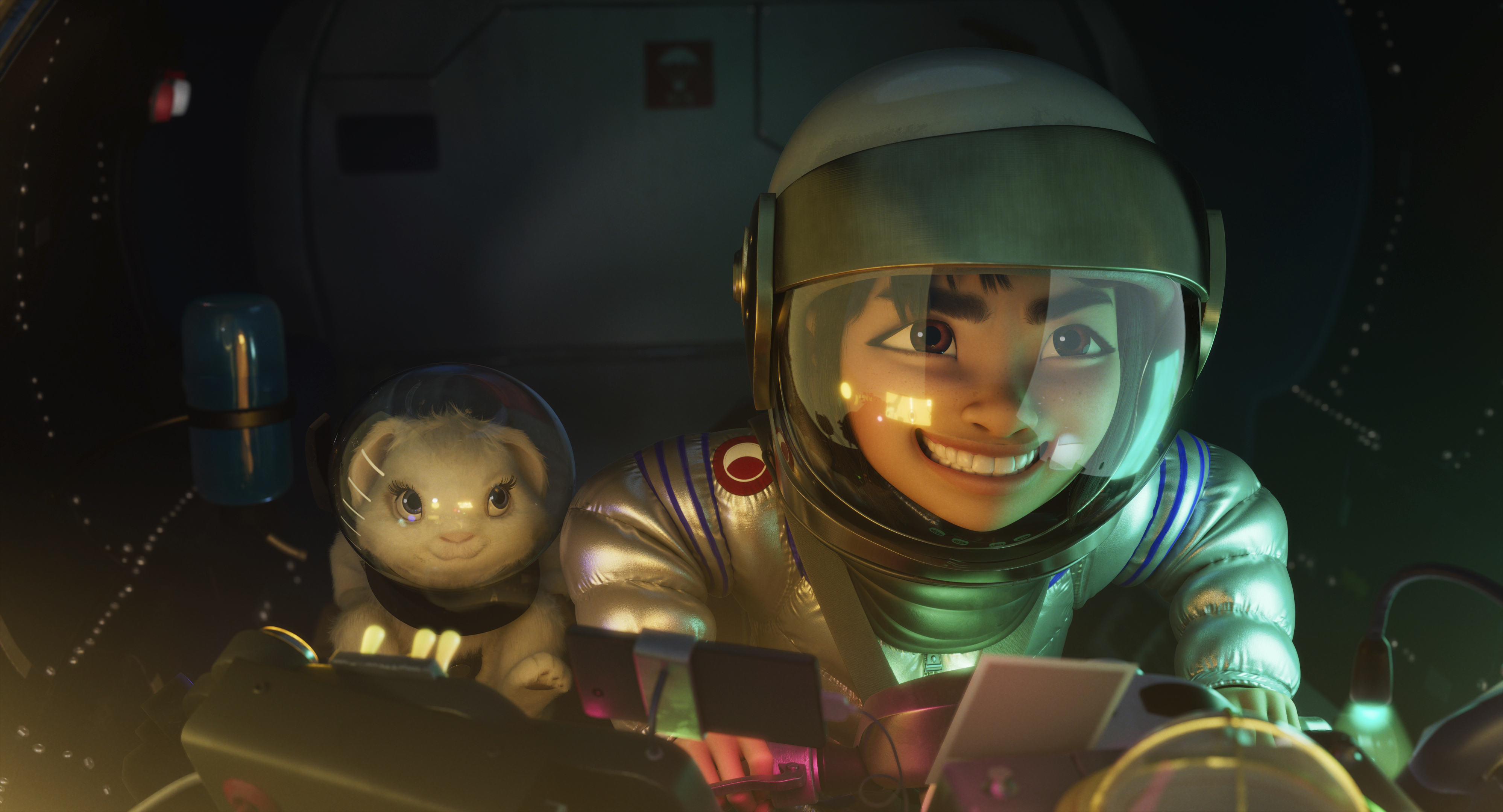 """Bungee the rabbit (left) and Fei Fei (voiced by Cathy Ang) head for outer space in the animated musical """"Over the Moon."""""""