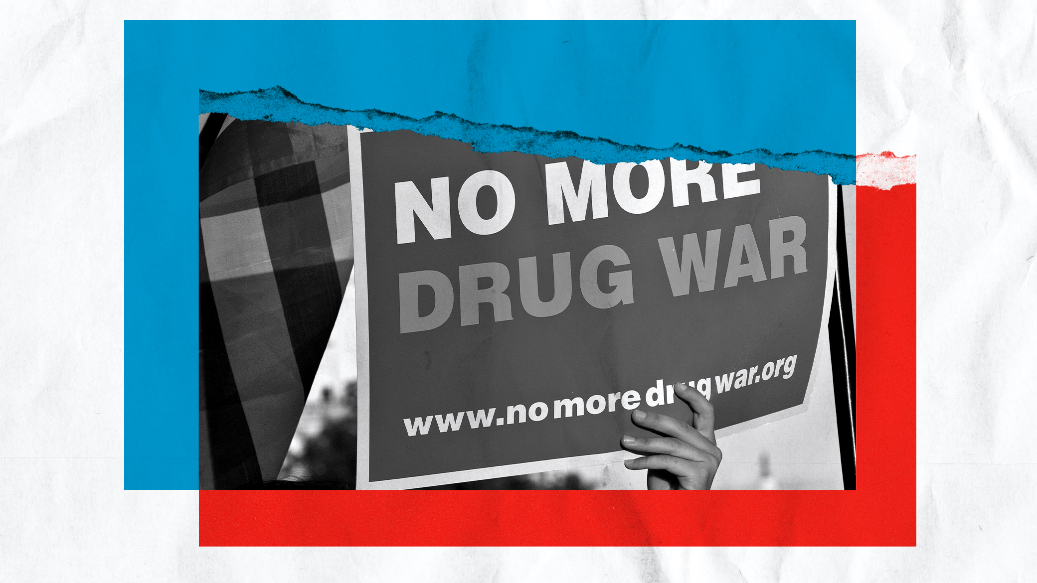 Photo illustration of a sign saying no more drug war.