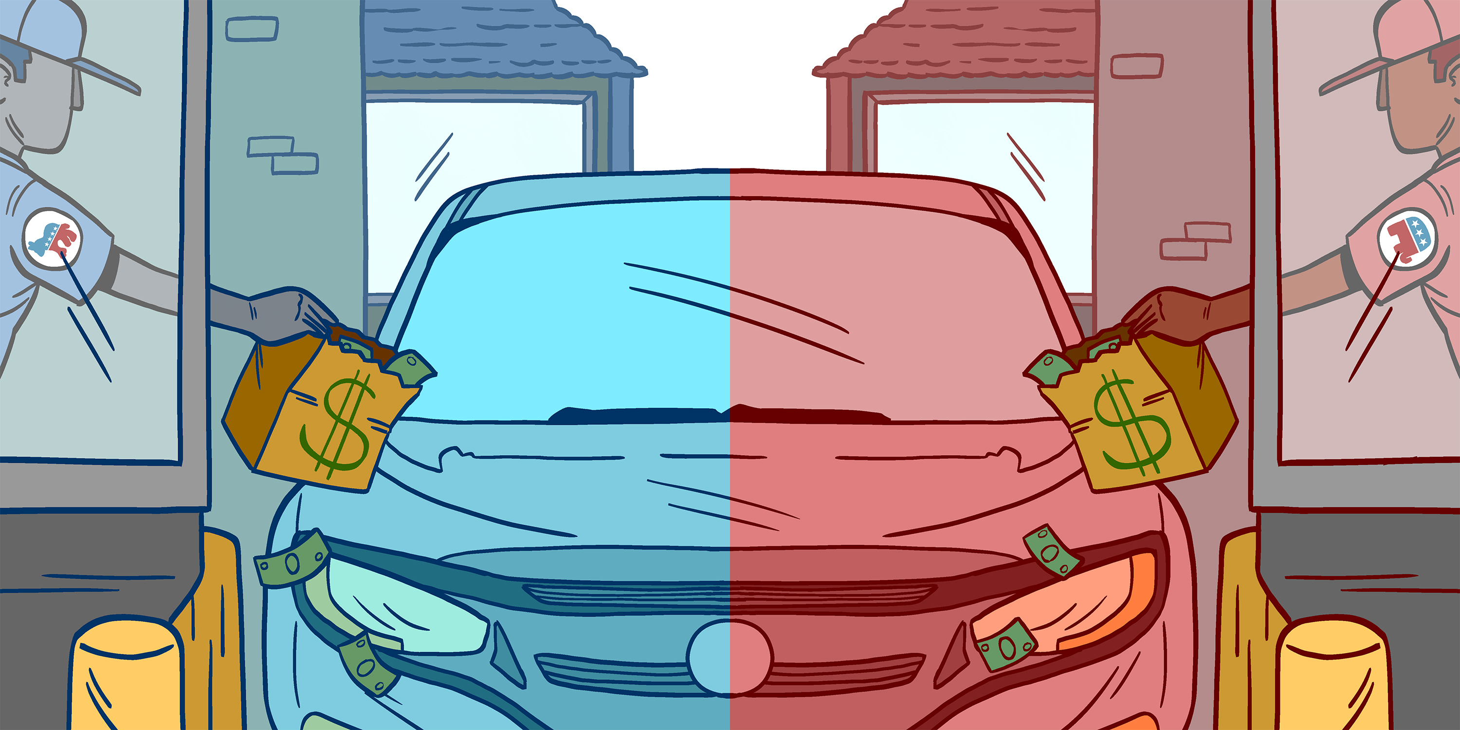 A split screen tinted red and blue for Republicans and Democrats being handed money by a fast food cashier