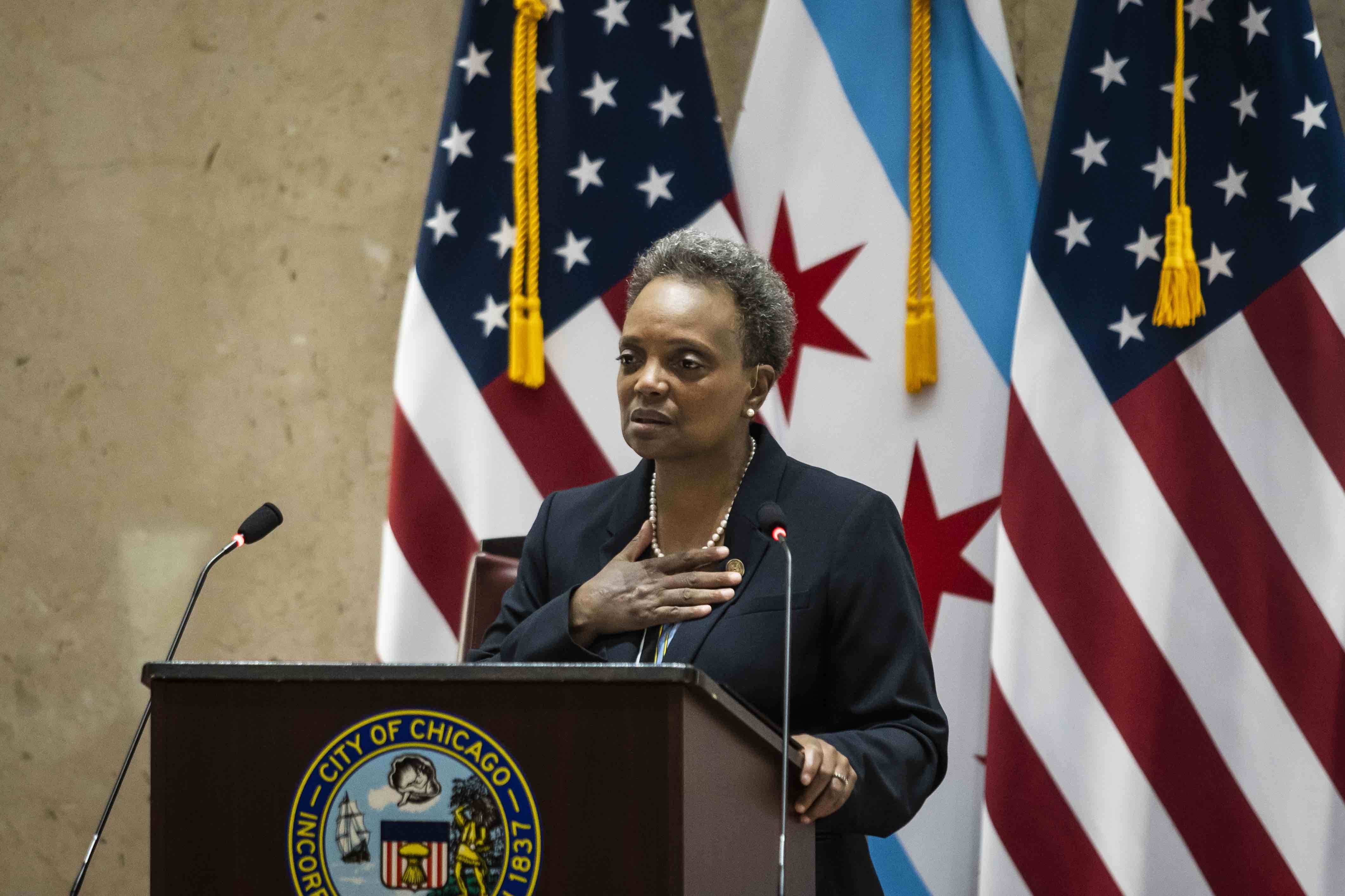 Mayor Lori Lightfoot addresses Chicago's gun violence while delivering the 2021 budget address during a virtual Chicago City Council meeting at City Hall, Wednesday morning, Oct. 21, 2020.