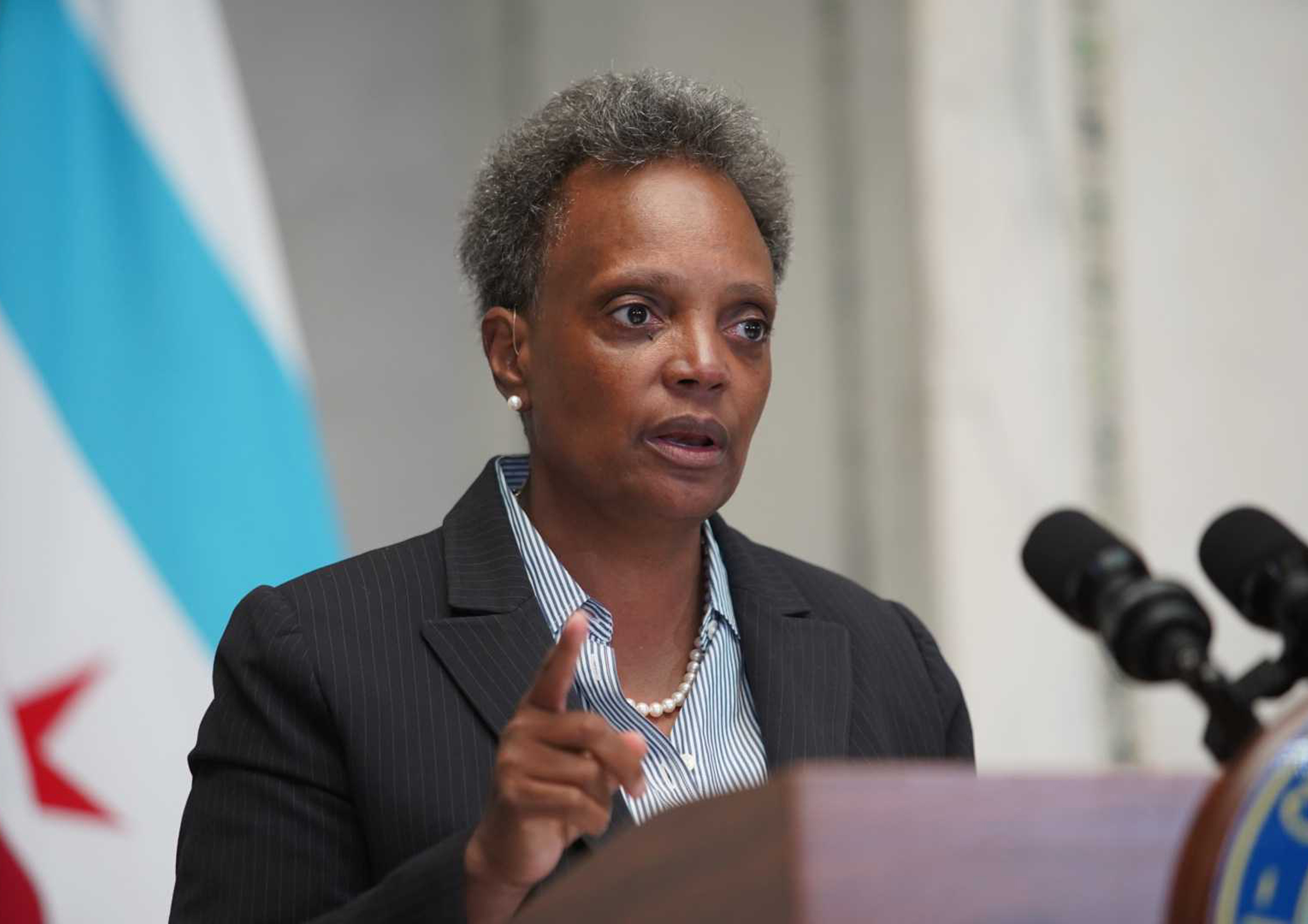 Mayor Lori Lightfoot speaking Monday, Aug. 31 at the Chicago Cultural Center.