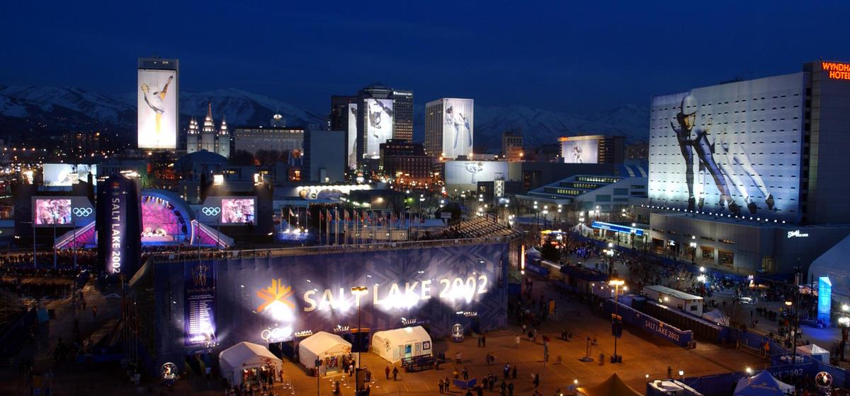 View of Salt Lake City from KSL, during the Olympics, Thursday, Feb. 21, 2002.