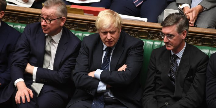 Boris Johnson, Michael Gove, and Jacob Rees-Mogg sit in the House of Commons