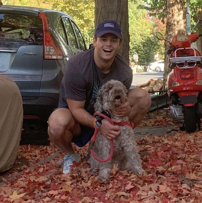Jack Storrs with his dog, Brady