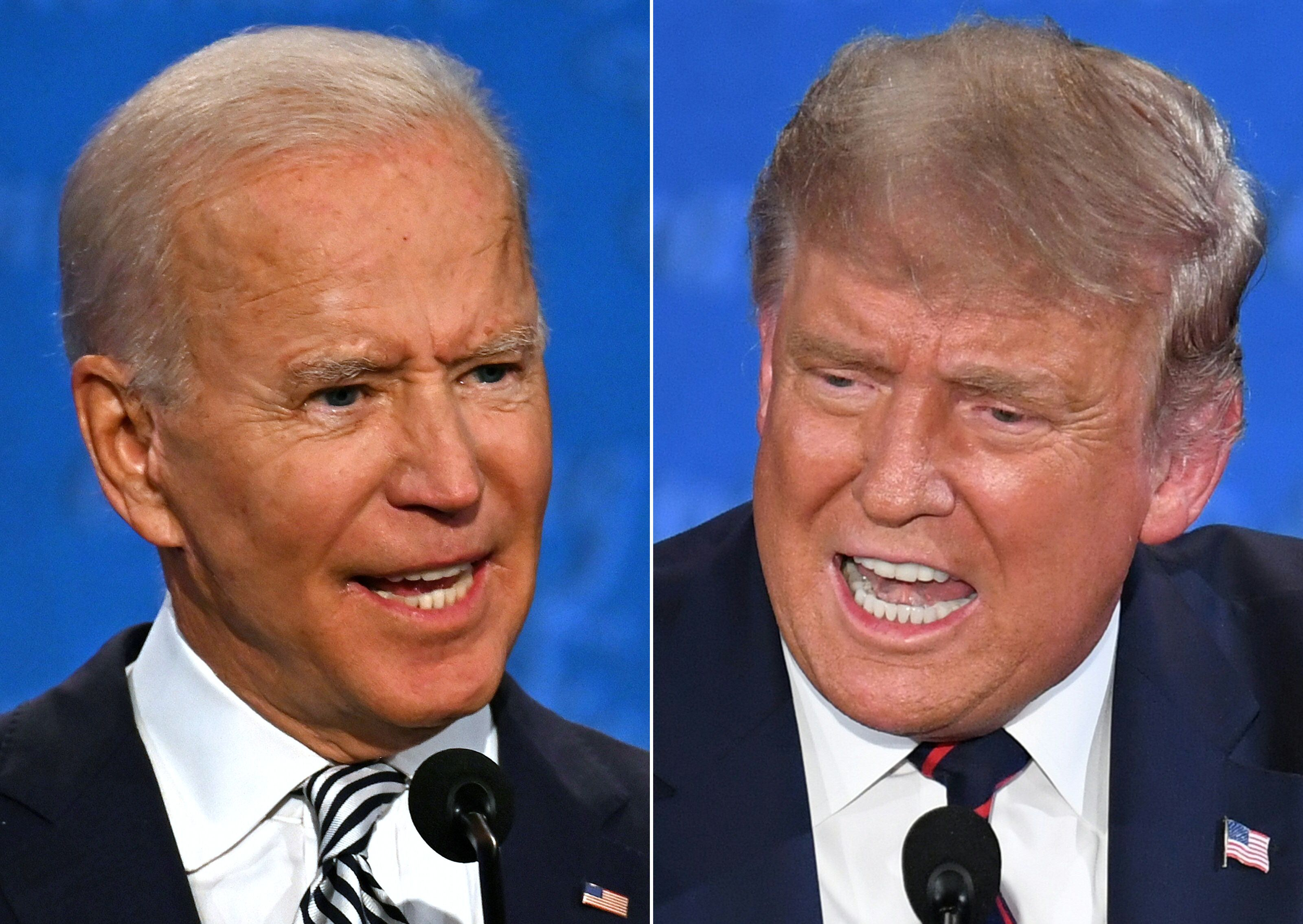 Combination of pictures created on September 29, 2020 shows Democratic Presidential candidate and former US Vice President Joe Biden (L) and US President Donald Trump speaking during the first presidential debate at the Case Western Reserve University and Cleveland Clinic in Cleveland, Ohio on September 29, 2020.