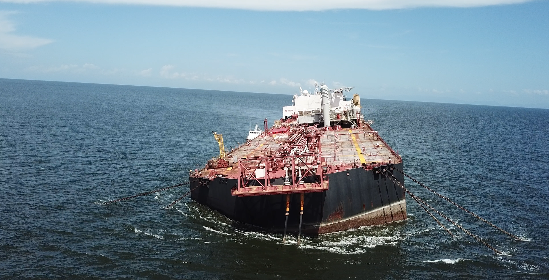A photo of the FSO Nabarima stranded at sea.