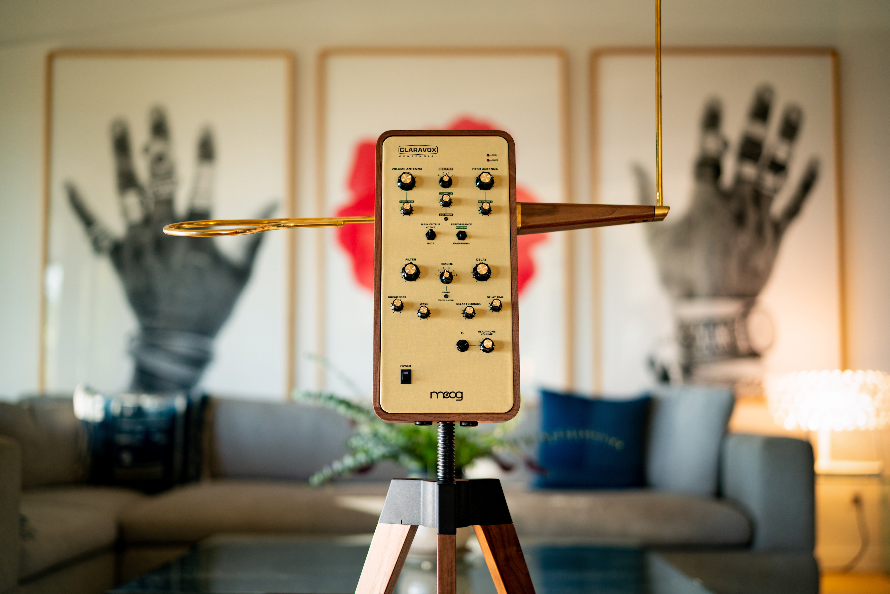 Photo of the Moog Claravox Centennial theremin in a living room.