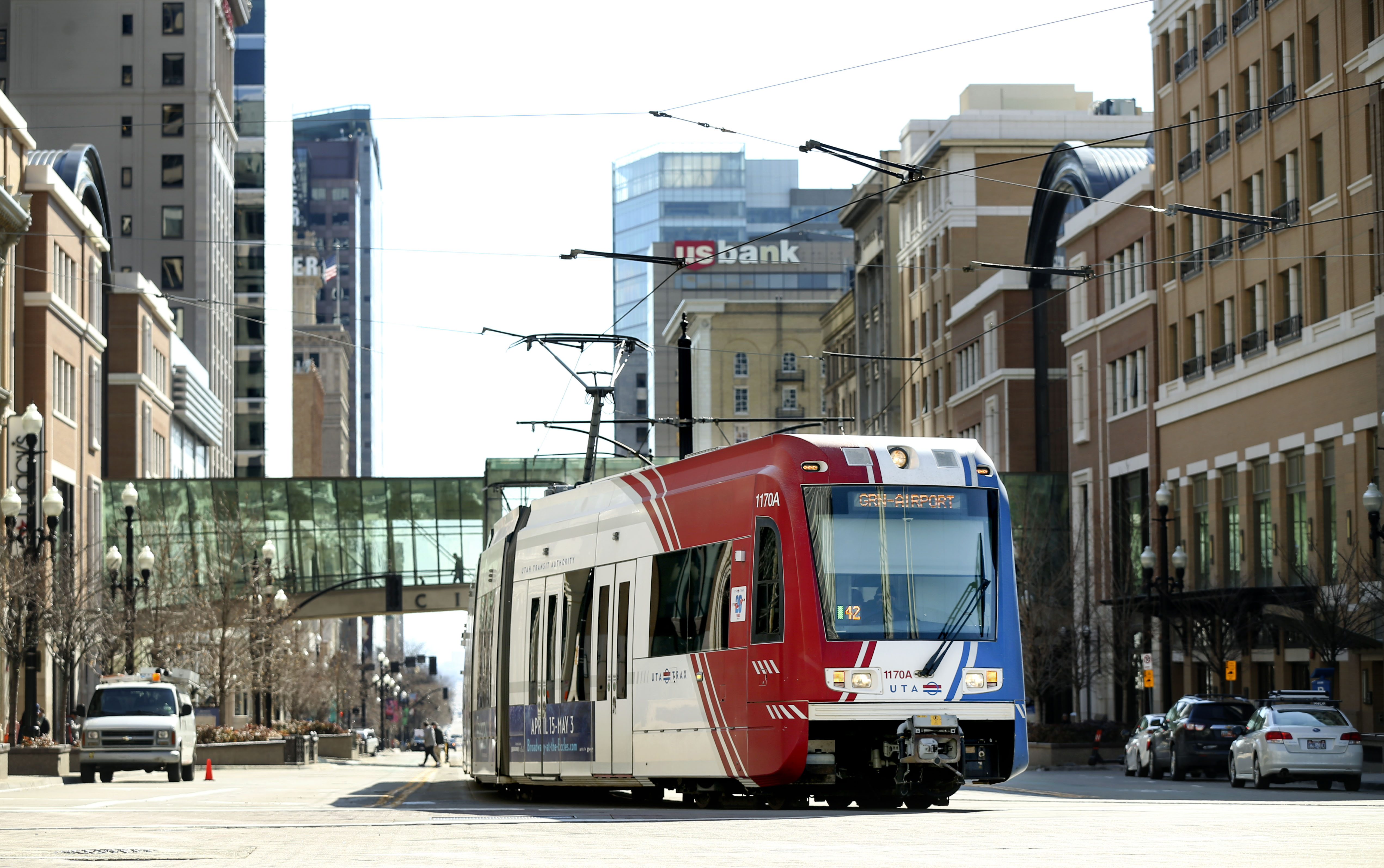 A TRAX train moves through Salt Lake City on Wednesday, Feb. 19, 2020.
