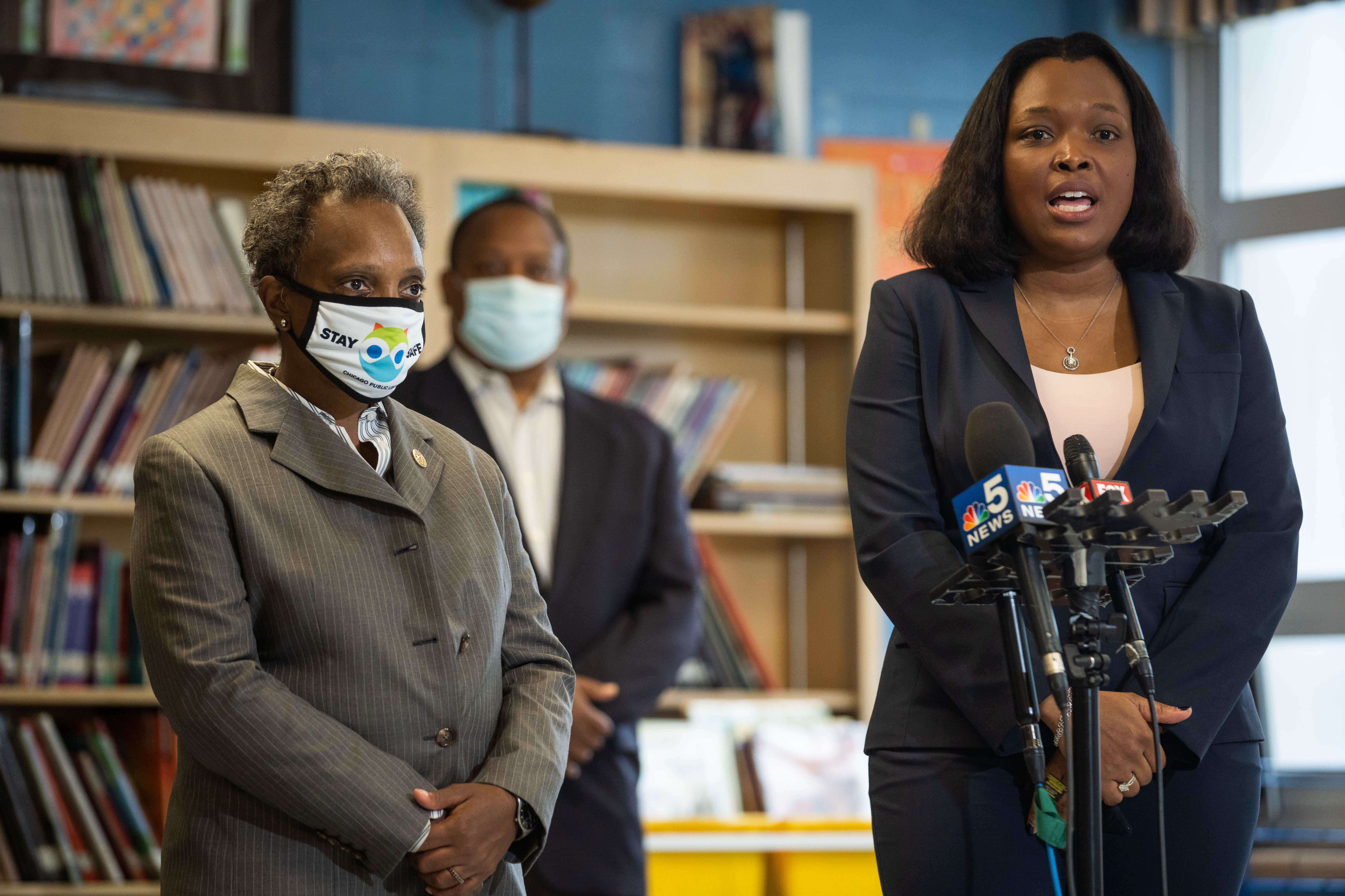 Chicago Public Schools CEO Dr. Janice Jackson speaks during a press conference on the first day of the semester, which has featured all remote learning so far. The Chicago Teachers Union filed an unfair labor complaint over the district's plan to start reopening next month.