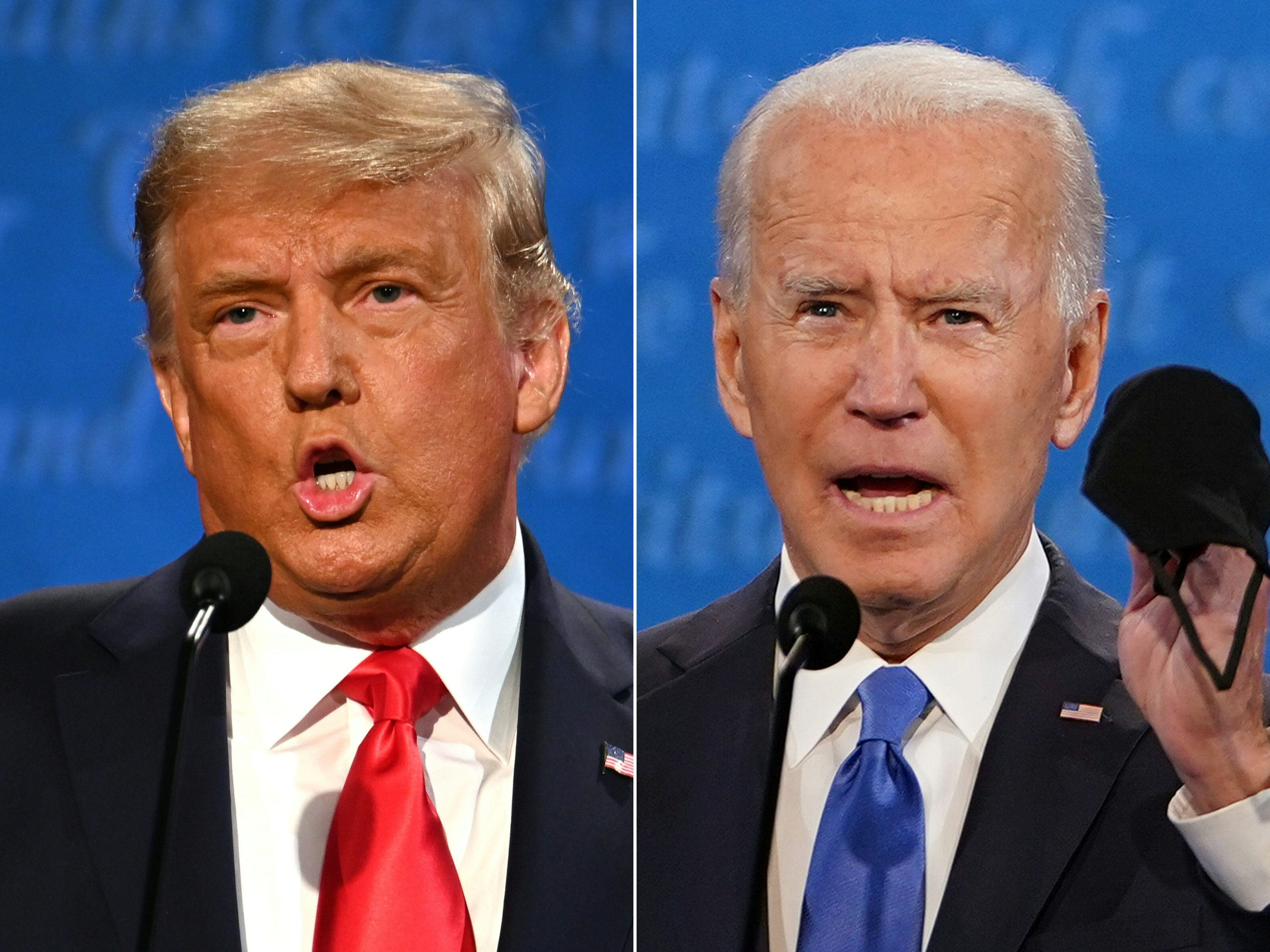 President Donald Trump and Democratic Presidential candidate and former Vice President Joe Biden during the final presidential debate at Belmont University in Nashville, Tennessee, on Thursday.