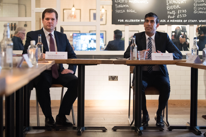 Rishi Sunak and Robert Jenrick sit in a closed Franco Manca restaurant during a meeting
