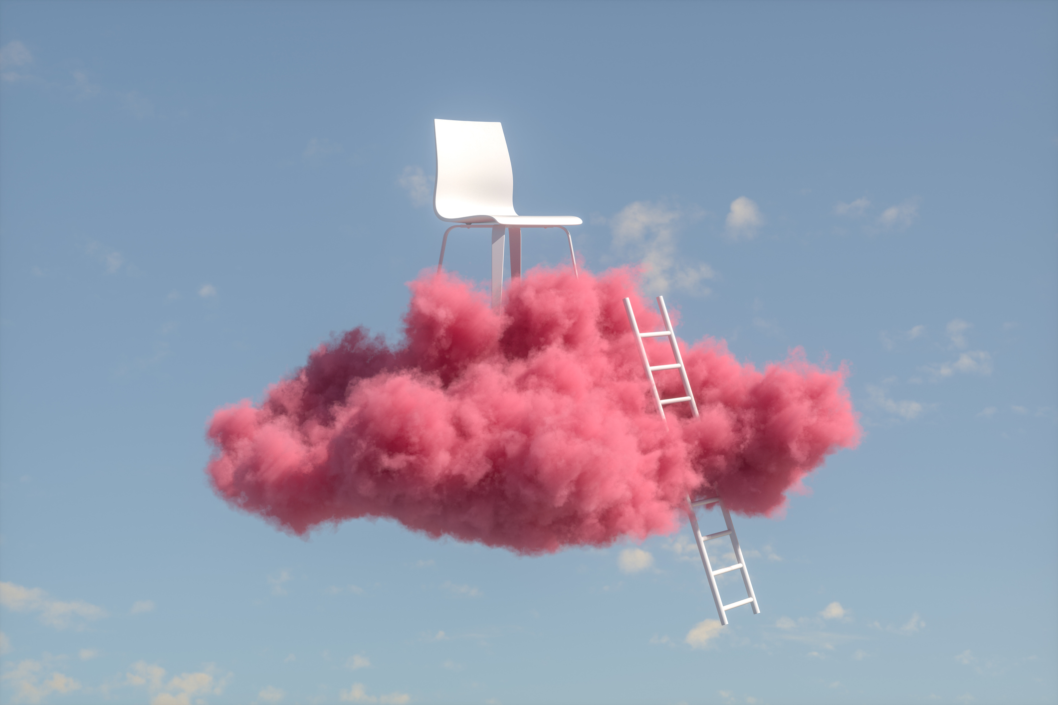 A fluffy pink cloud hovers against a blue sky. Atop the cloud is a white chair, and leaning against the cloud is a white ladder leading to the chair.