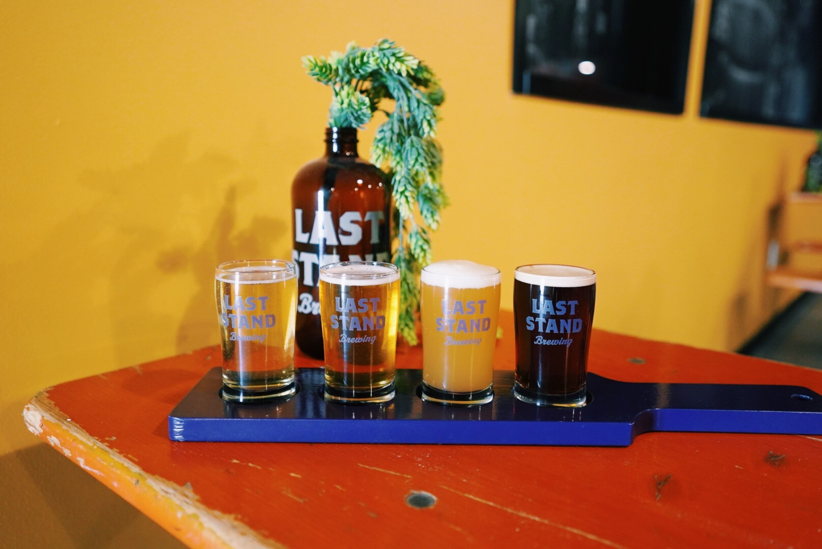The beer flight from Last Stand