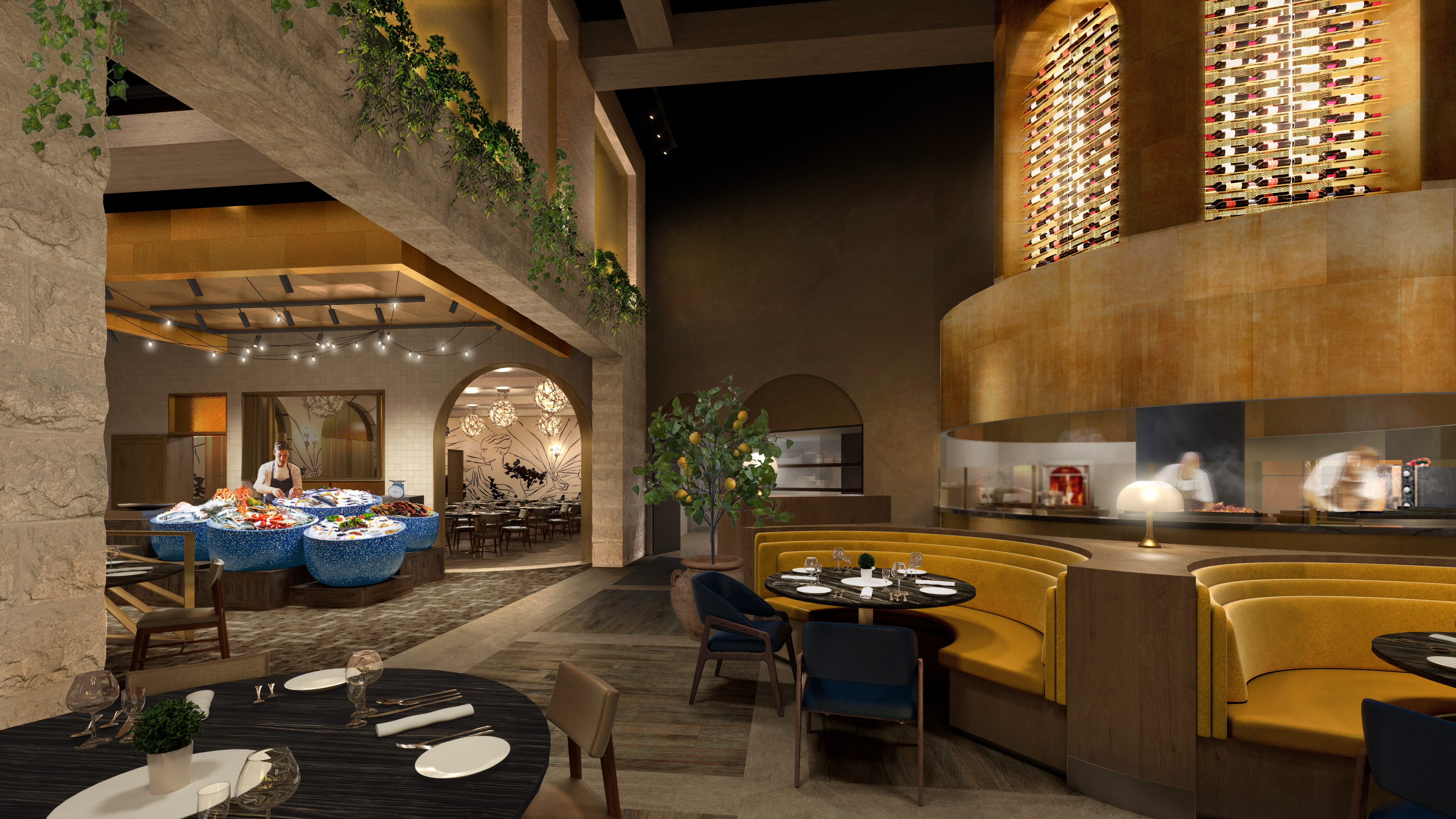A rendering of a restaurant with woods and greens