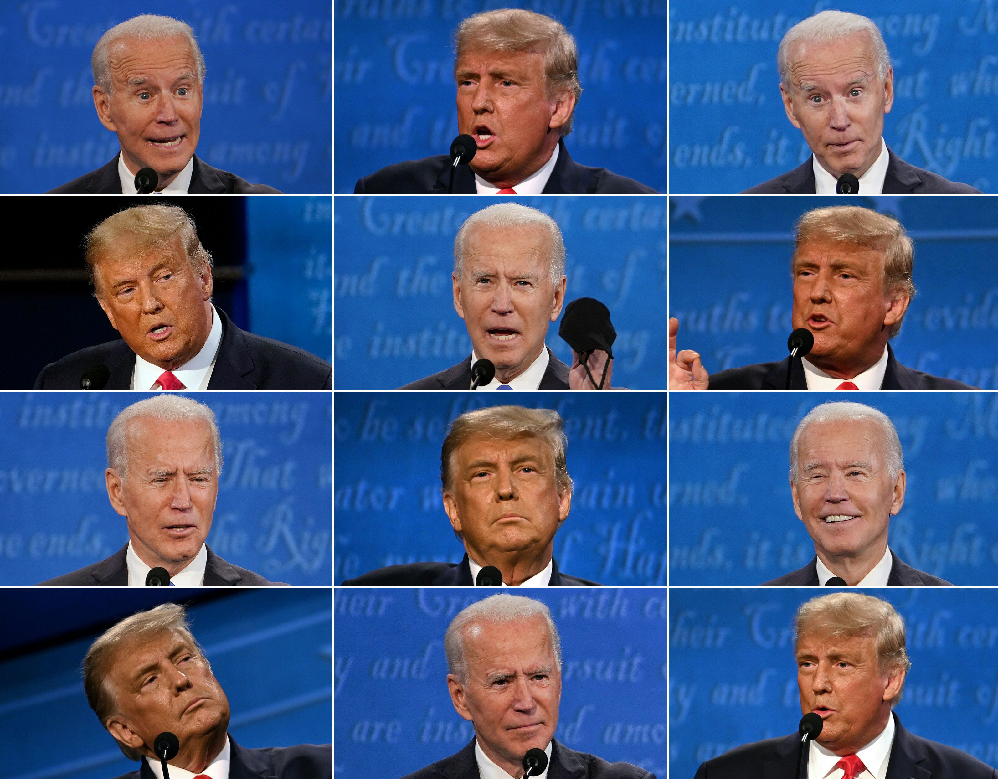 This combination of pictures created on October 22, 2020 shows US President Donald Trump and Democratic Presidential candidate and former US Vice President Joe Biden during the final presidential debate at Belmont University in Nashville, Tennessee, on October 22, 2020.
