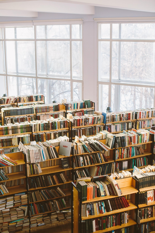 Library full of books.