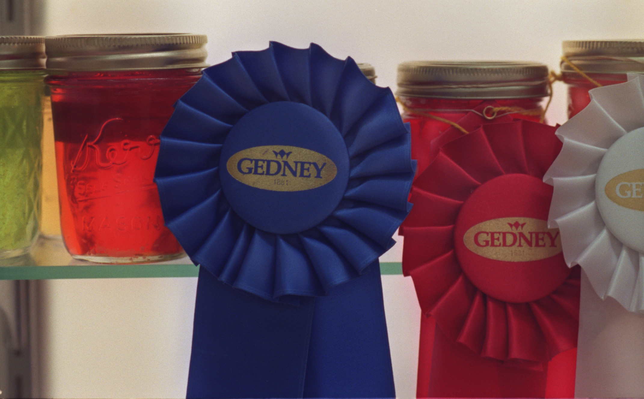 Blue ribbon winning breads and preserves at the State Fair. — Minnesota State Fair—Ribbon-winning preserves at the Minnesota State Fair displayed in the Creative Activities Building.(Photo By JOEY MCLEISTER/Star Tribune via Getty Images)