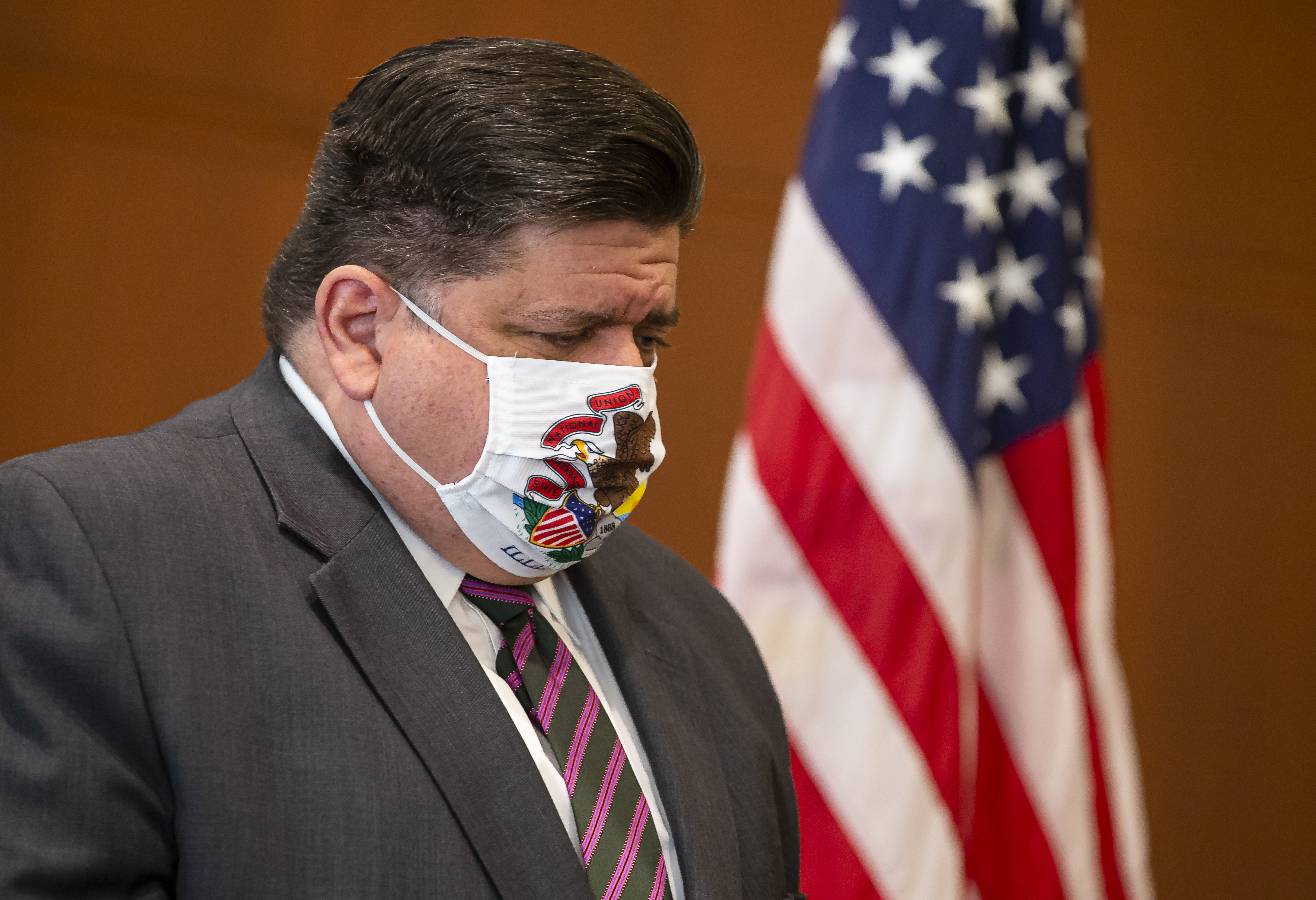 Gov. J.B. Pritzker pictured at a Sept. 21 press conference in Springfield.