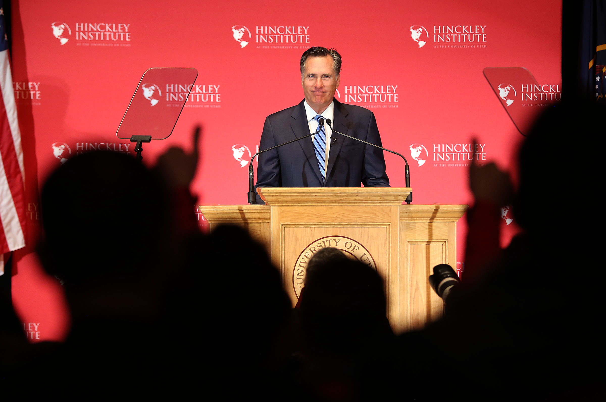 In this March 3, 2016 file photo, Mitt Romney addresses the Hinckley Institute of Politics regarding the 2016 presidential race at the University of Utah in Salt Lake City.