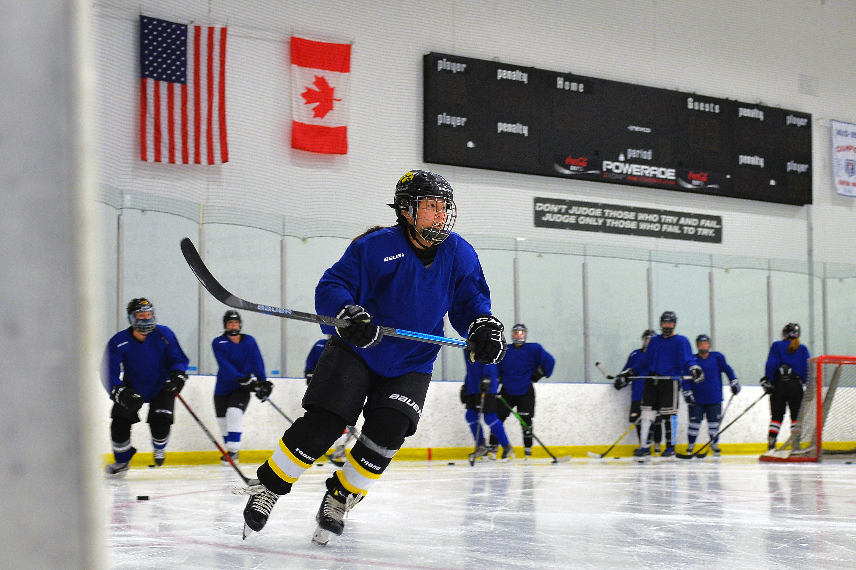 Jaslyn Lim of the Chicago North Stars, an elite women's hockey team, practices with the team at Johnny's IceHouse West.