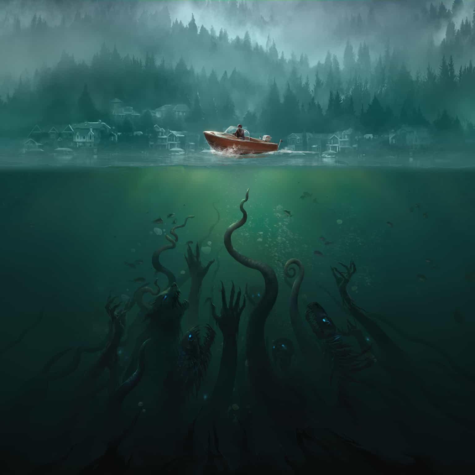 a boat atop a dark lake