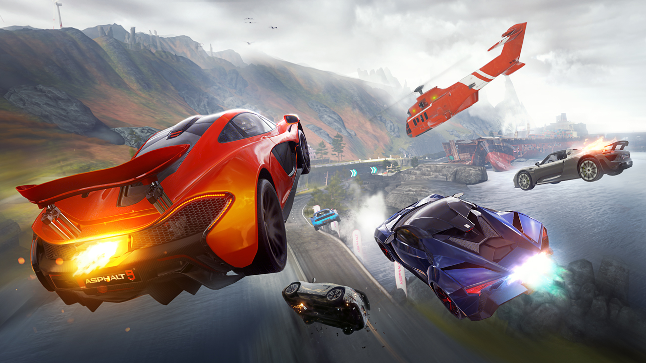 Cars leap through the air over a coastline track, chased by a Coast Guard chopper, in Asphalt 9: Legends