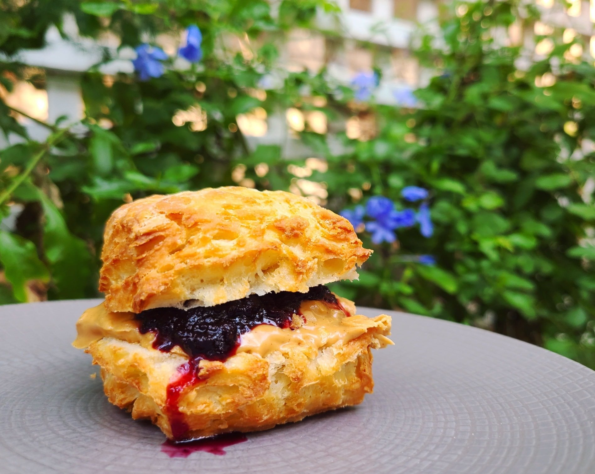 A peanut butter and blueberry jam biscuit sandwich from Little Ola's Biscuits
