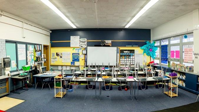 An empty classroom at Goldrick Elementary School, Dec. 7, 2017.