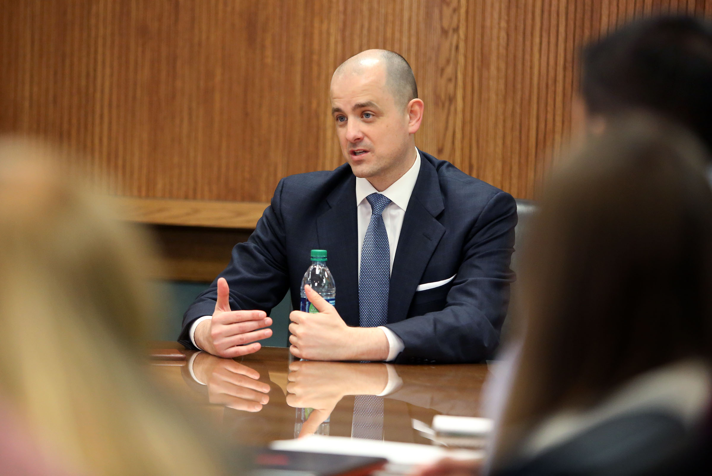 Former independent presidential candidate Evan McMullin speaks to a small group of political science students at Brigham Young University in Provo in 2017.  McMullin endorsed Utah Democratic Rep. Ben McAdams' reelection Monday and criticized his GOP opponent in the 4th Congressional District race.