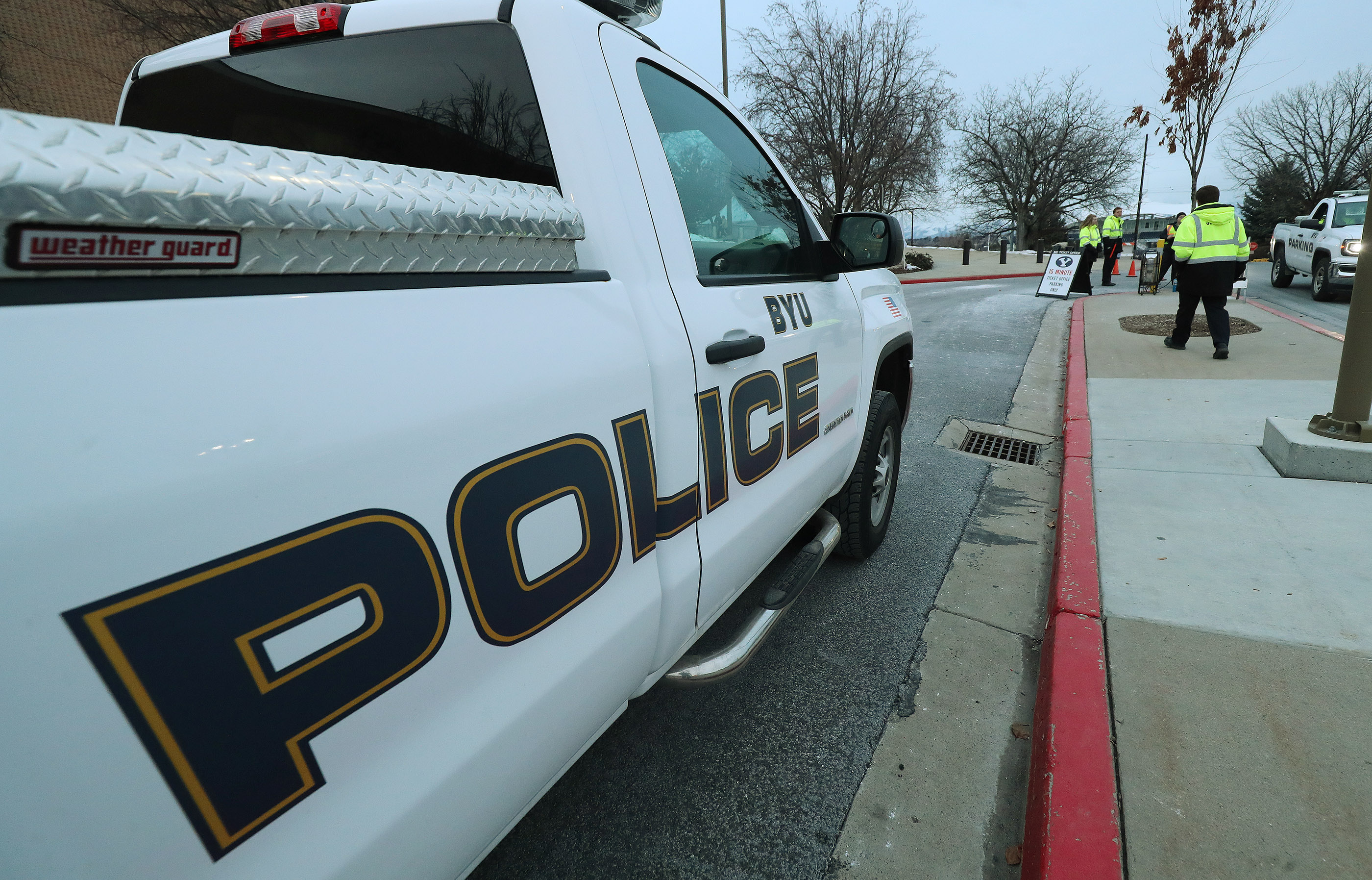 BYU police monitor traffic at a university basketball game in Provo on Thursday, Feb. 21, 2019.