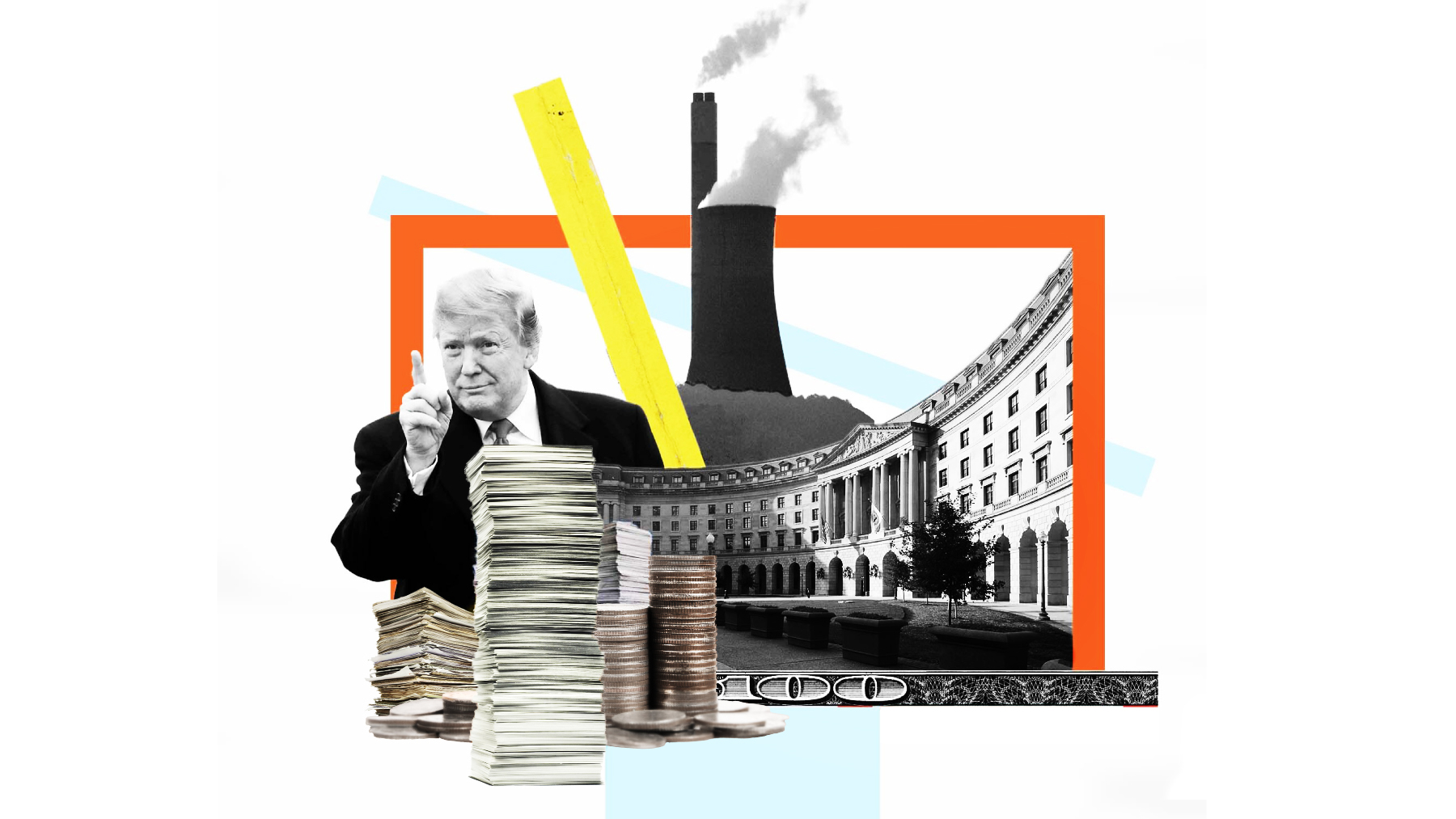 An illustration of Trump, smokestacks, and paperwork.