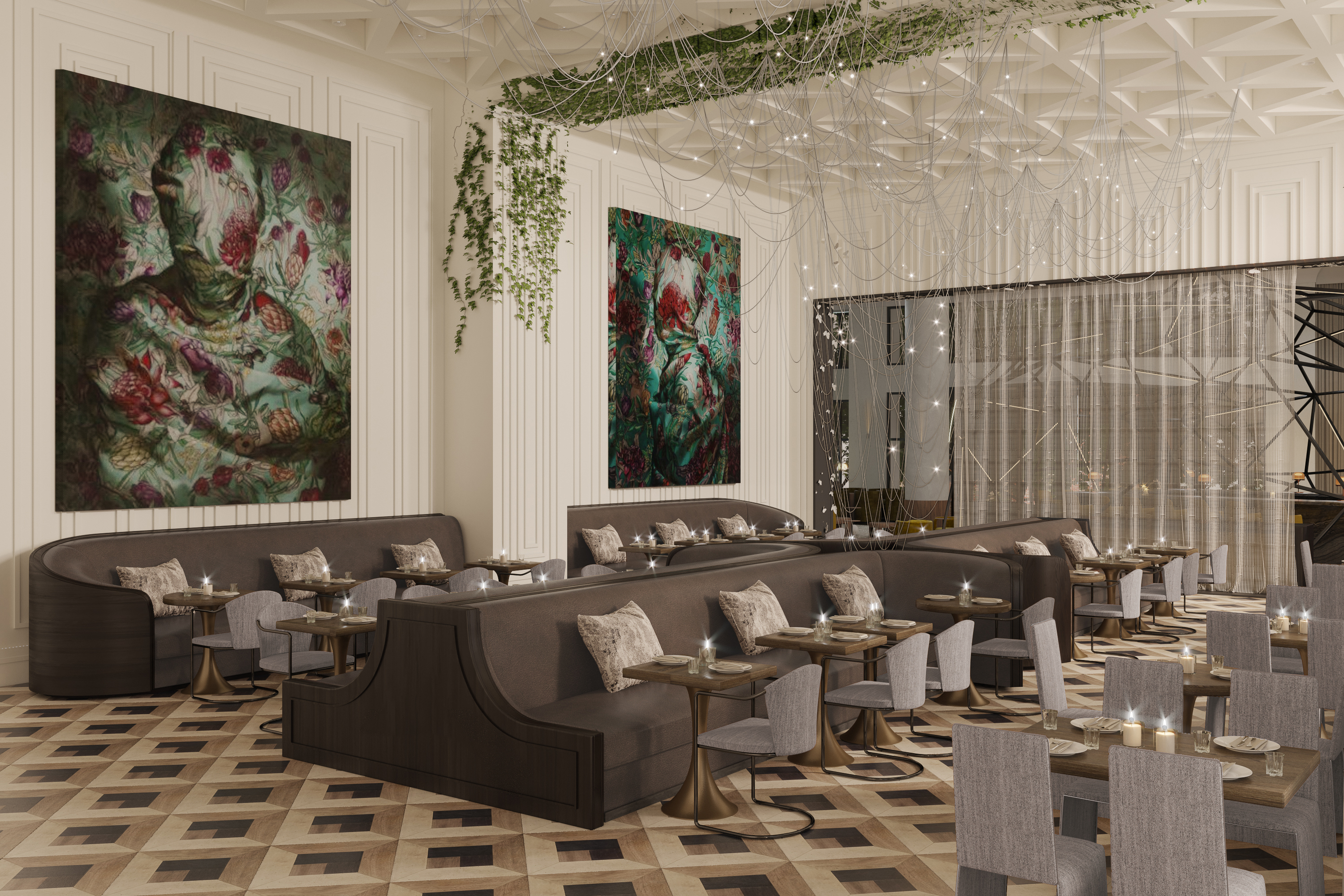 A large restaurant with high ceilings, white walls with large art pieces hanging on them, and patterned wood floors. Gray banquettes and chairs fill the dining room.