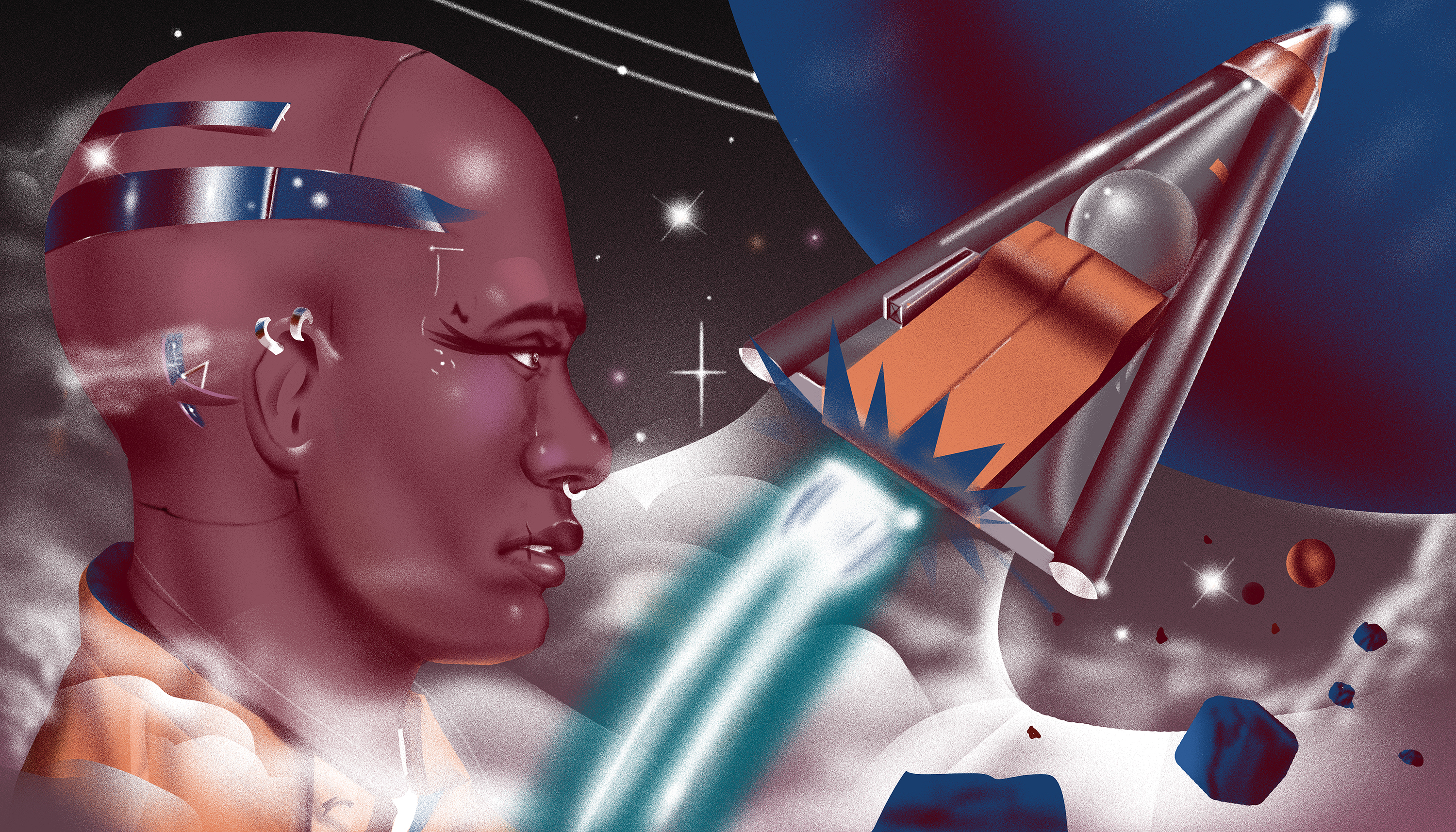 Illustration featuring bald man with metal head band, a rocket ship, and a planet in the background