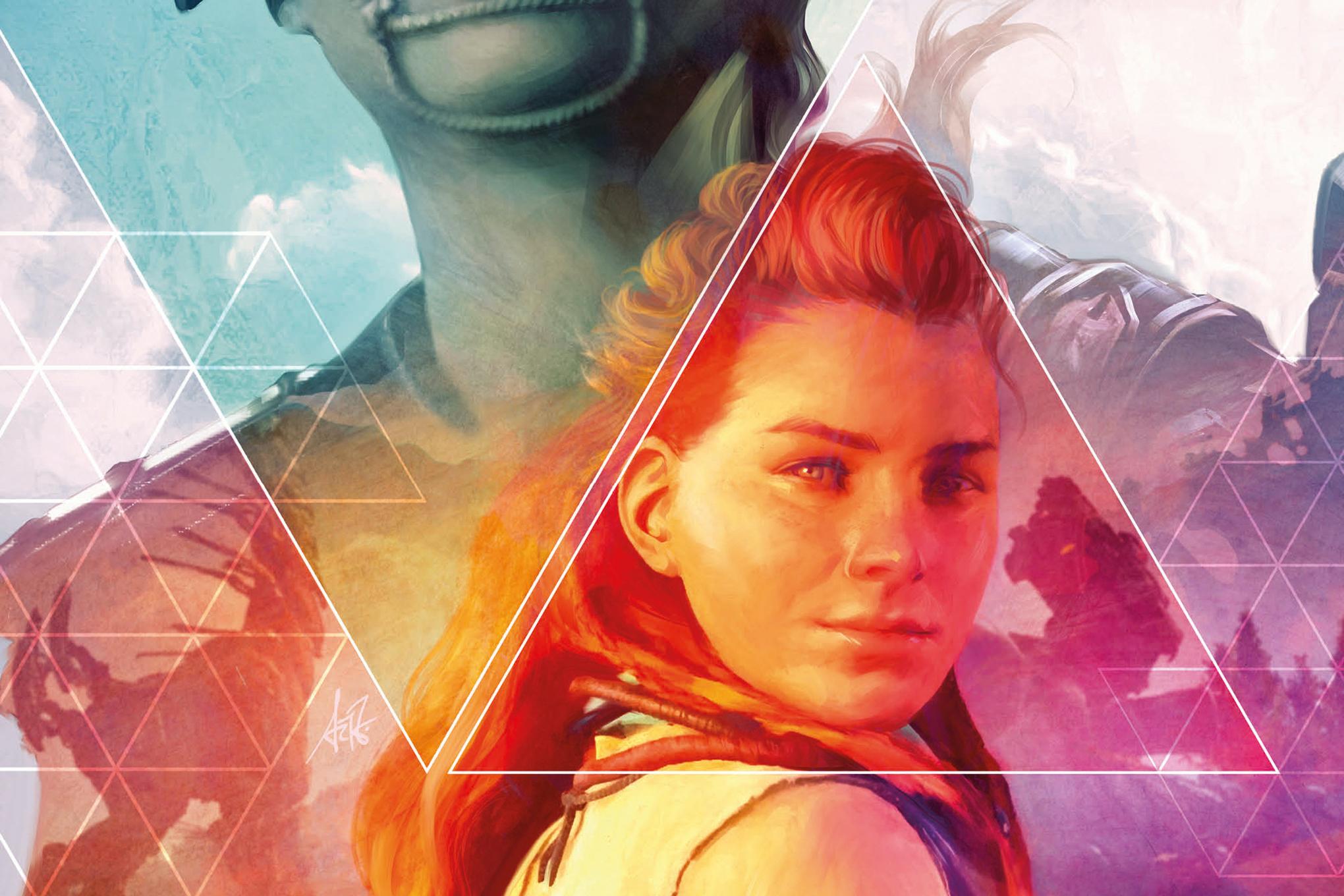 Aloy on the cover of Horizon Zero Dawn #1, Titan Comics (2020).