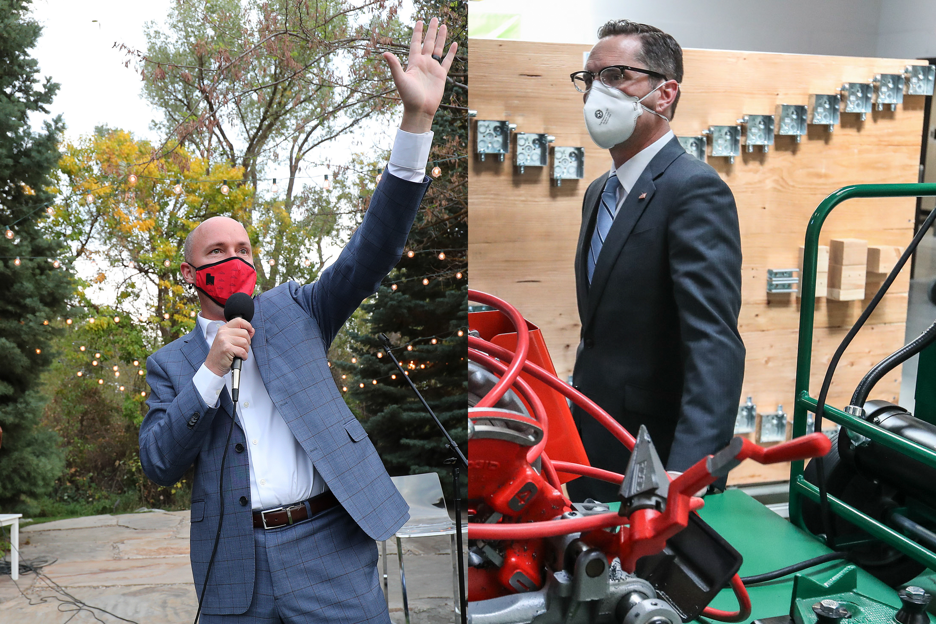 In this composite image, Republican gubernatorial candidate Lt. Gov. Spencer Cox, left, speaks to attendees at a backyard event in Farmington on Thursday, Oct. 8, 2020, while at right, Democratic gubernatorial candidate Chris Peterson poses for a photo after touring the Utah Electrical Training Alliance building in West Jordan on Friday, Oct. 16, 2020.
