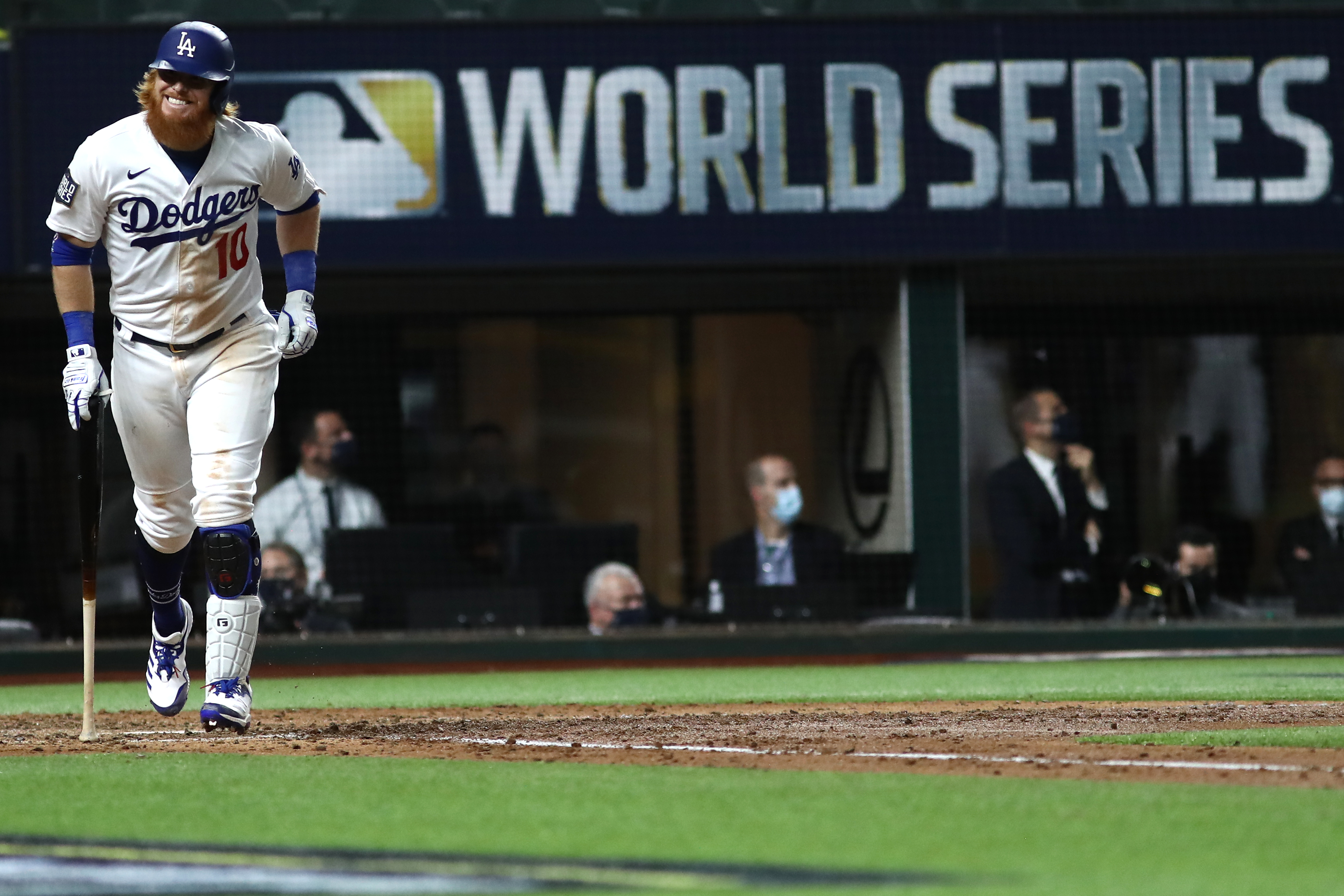 Justin Turner #10 of the Los Angeles Dodgers reacts after flying out against the Tampa Bay Rays during the sixth inning in Game Six of the 2020 MLB World Series at Globe Life Field on October 27, 2020 in Arlington, Texas.