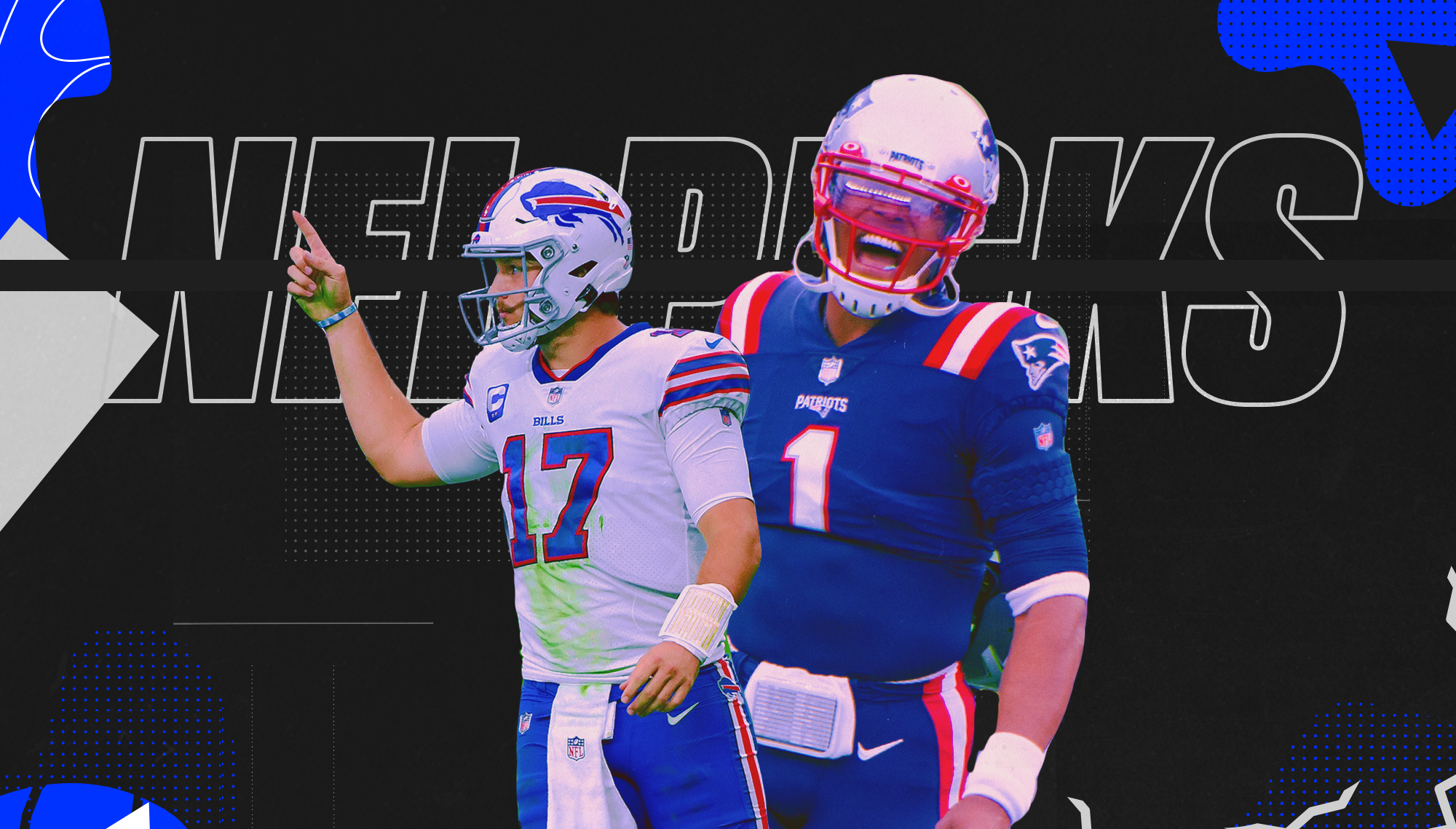 """This is original SB Nation Art. It it two cut out photos of Cam Newton and Josh Allen, both celebrating on the football field. They are laid over a background that says """"NFL Picks"""""""