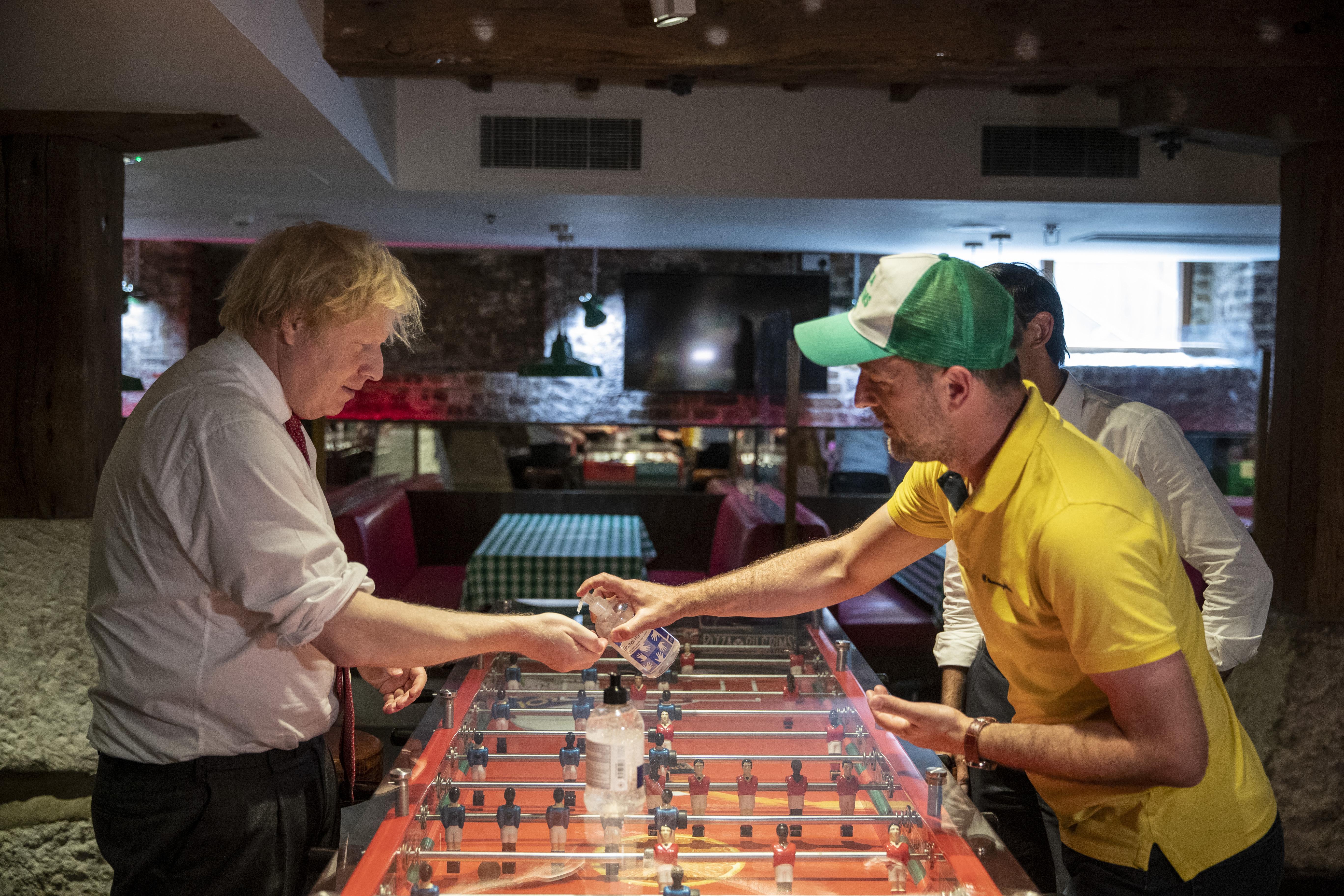 The UK Prime Minister And Chancellor Visit An East London Restaurant Preparing To Open Post Coronavirus Lockdown
