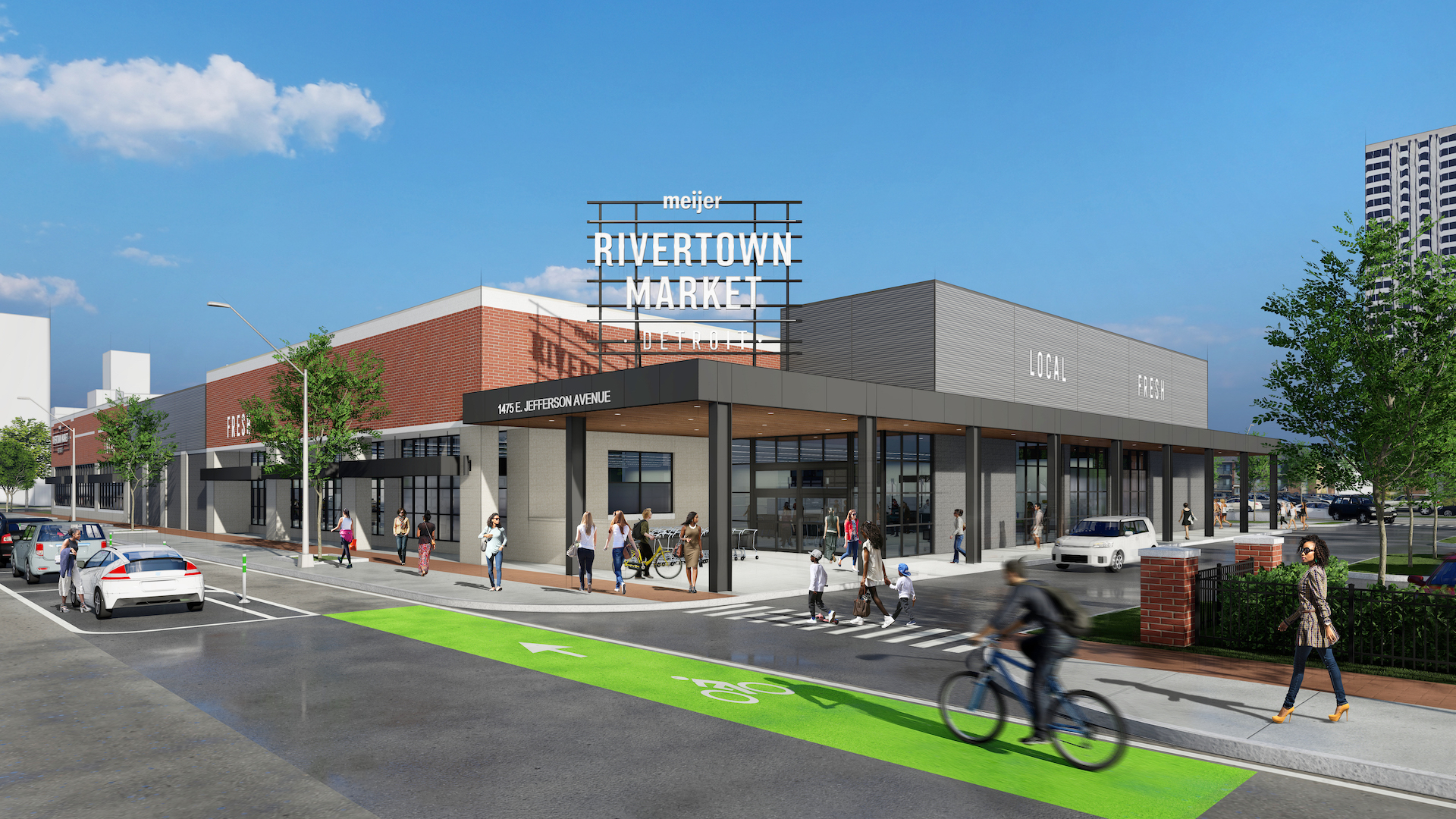 A boxy rendering of a market with a big corner sign reading Rivertown Market and bike lanes along East Jefferson.
